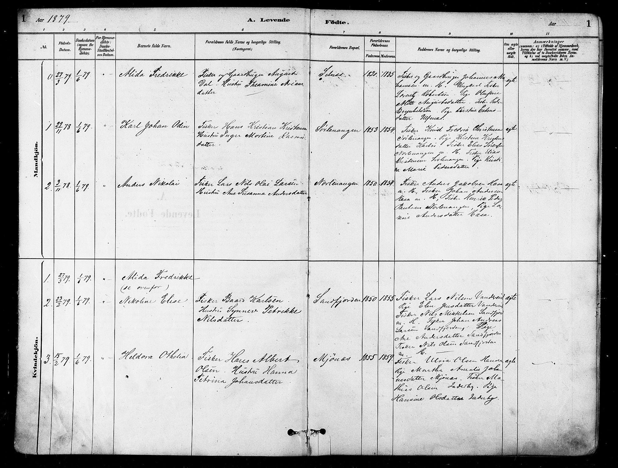 SATØ, Karlsøy sokneprestembete, H/Ha/Haa/L0006kirke: Parish register (official) no. 6, 1879-1890, p. 1