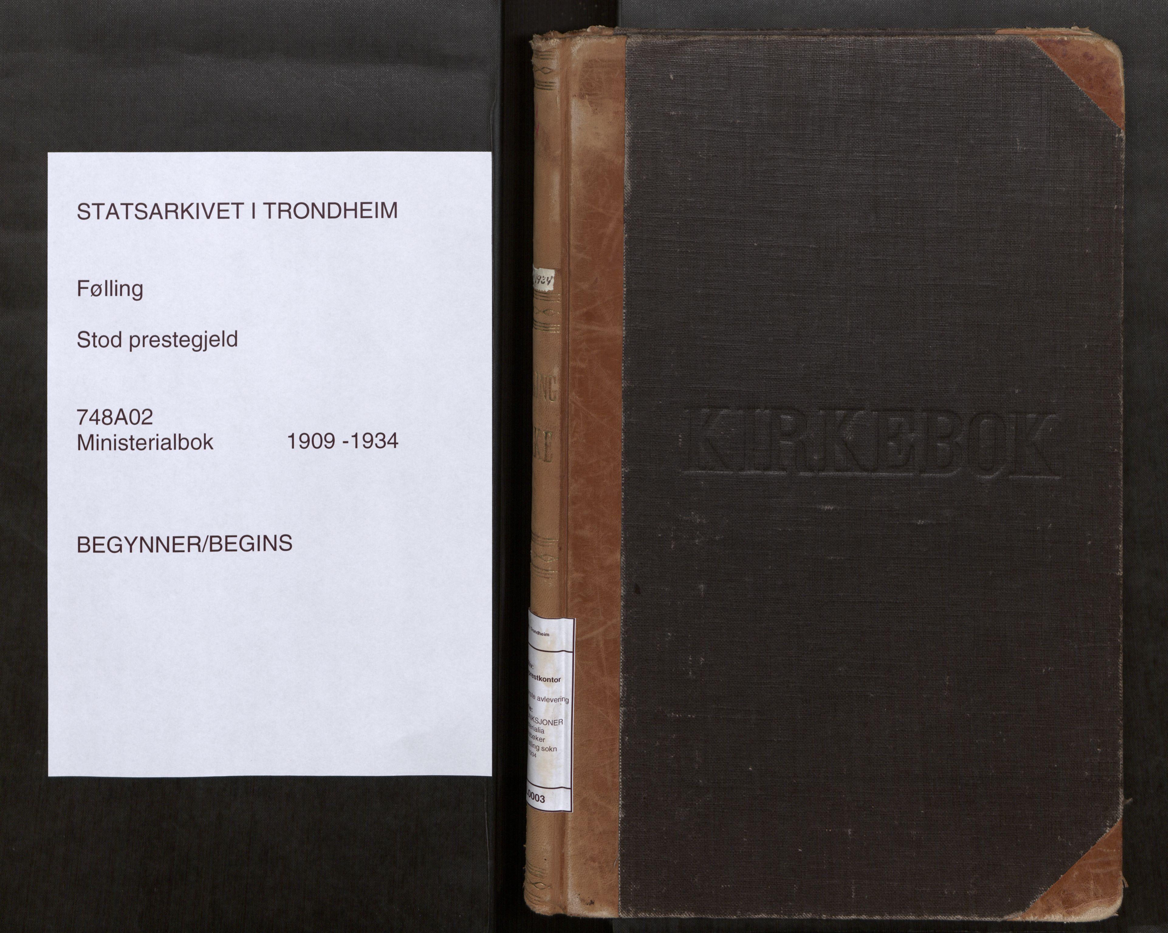 SAT, Stod sokneprestkontor, I/I1/I1a/L0003: Parish register (official) no. 3, 1909-1934
