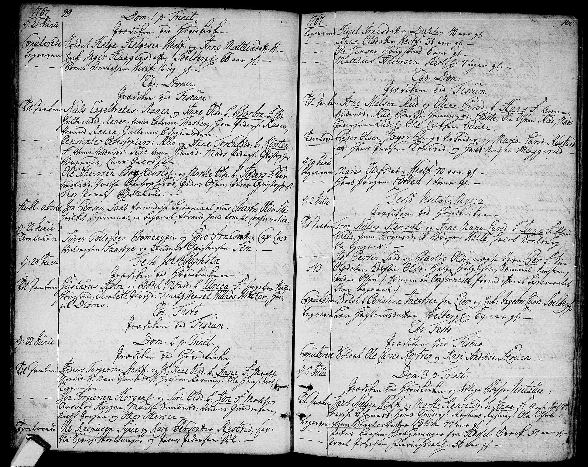 SAKO, Eiker kirkebøker, F/Fa/L0008: Parish register (official) no. I 8, 1764-1788, p. 99-100