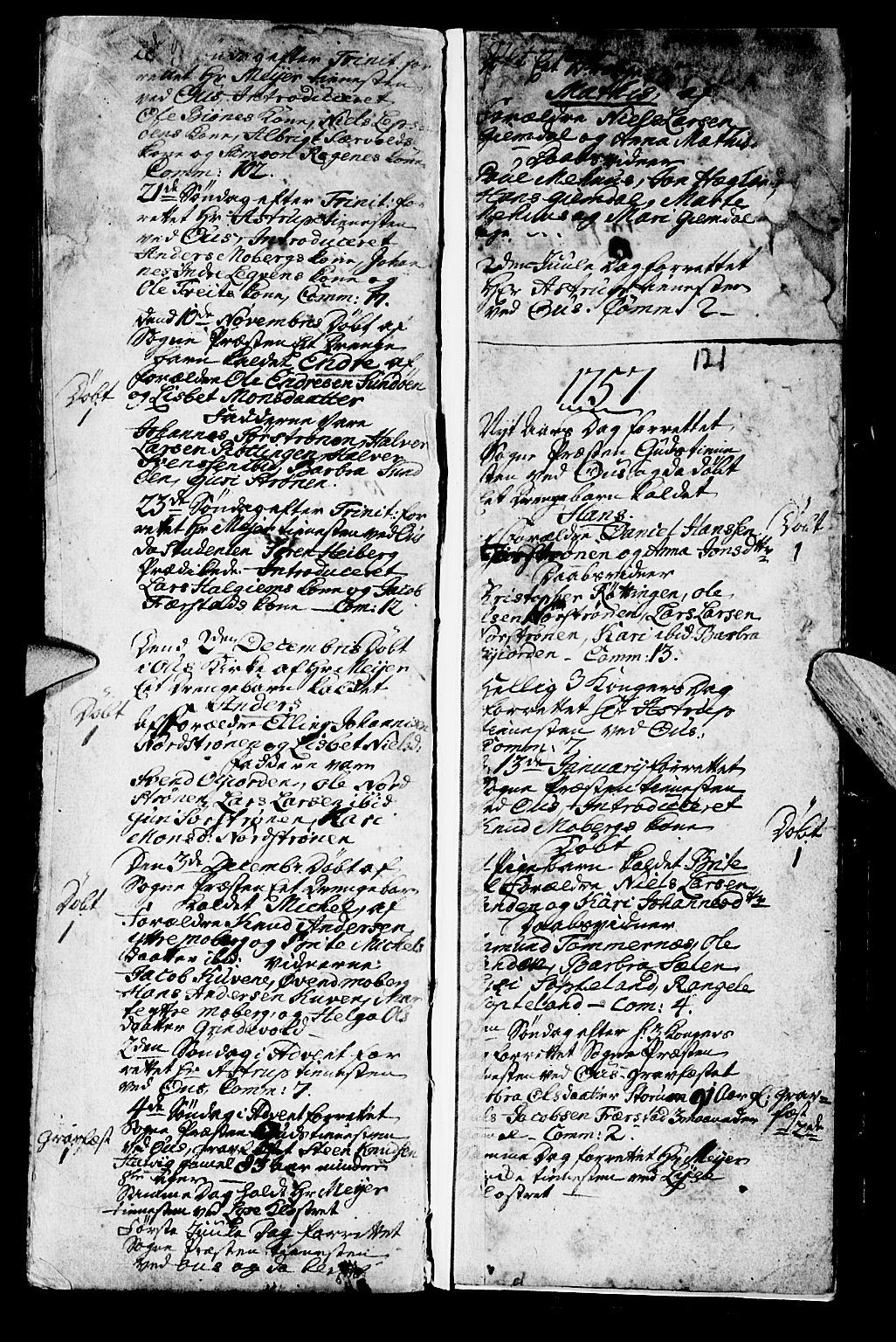 SAB, Os sokneprestembete*, Parish register (official) no. A 2, 1723-1758, p. 121