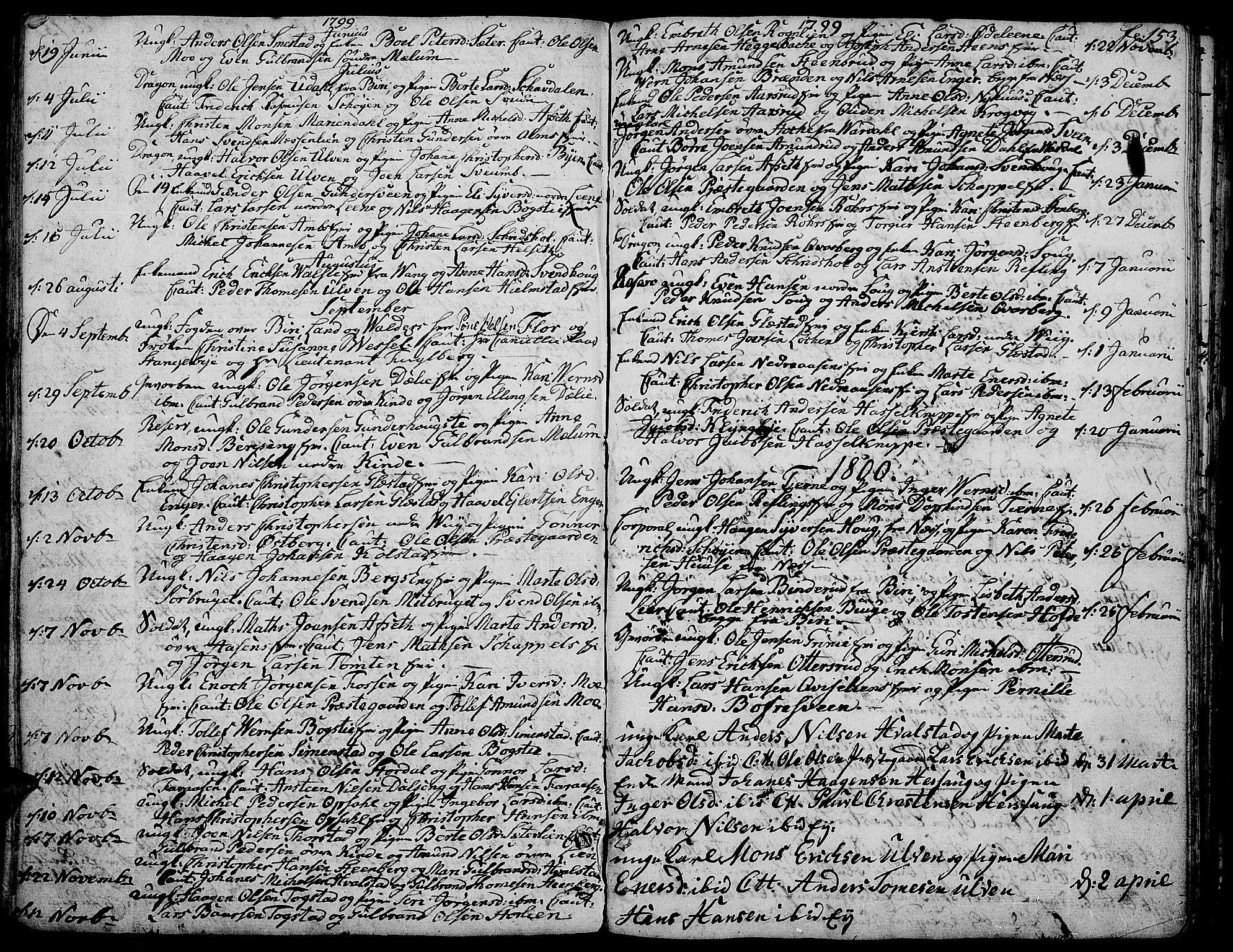 SAH, Ringsaker prestekontor, K/Ka/L0004: Parish register (official) no. 4, 1799-1814, p. 153