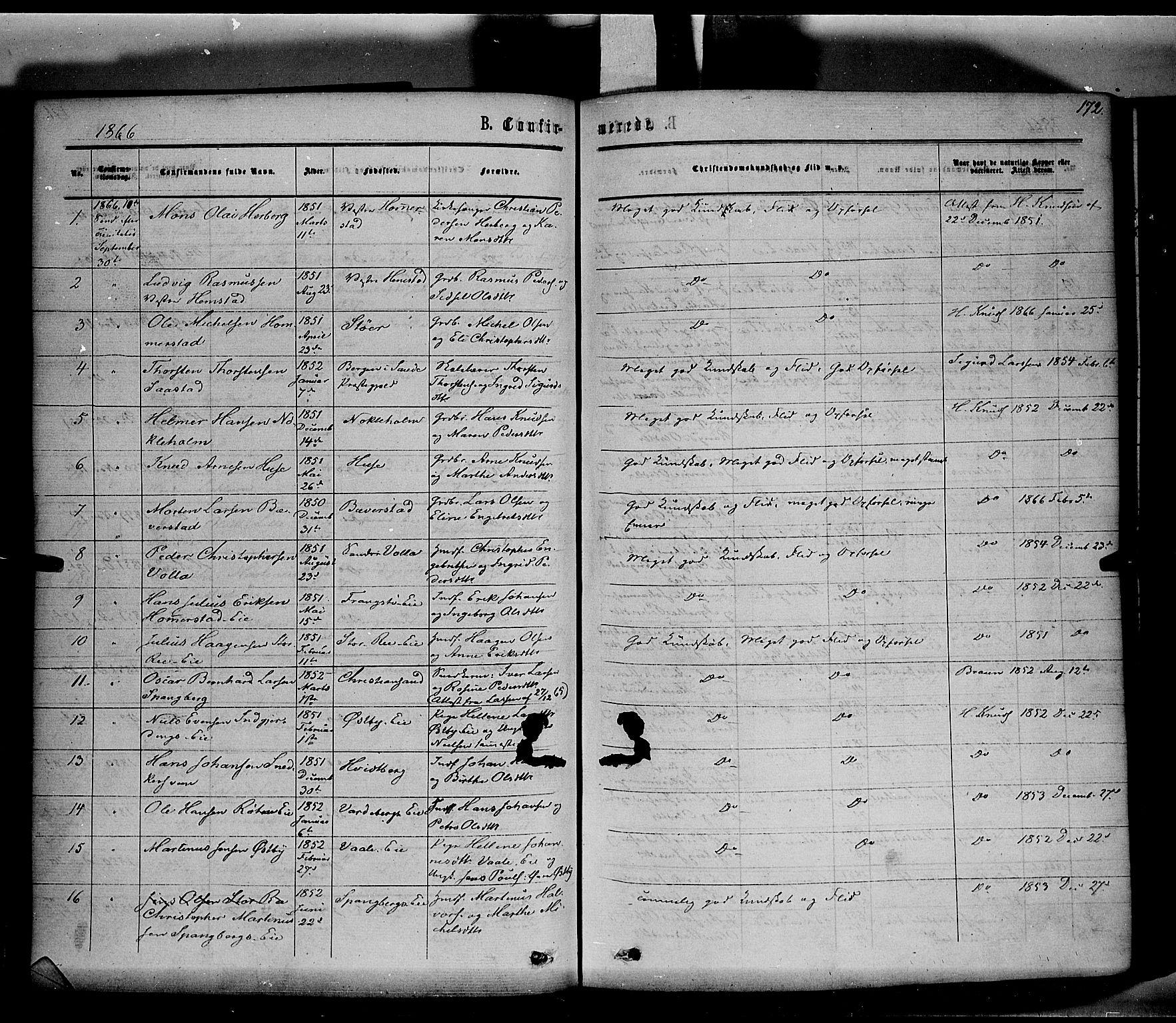 SAH, Stange prestekontor, K/L0013: Parish register (official) no. 13, 1862-1879, p. 172