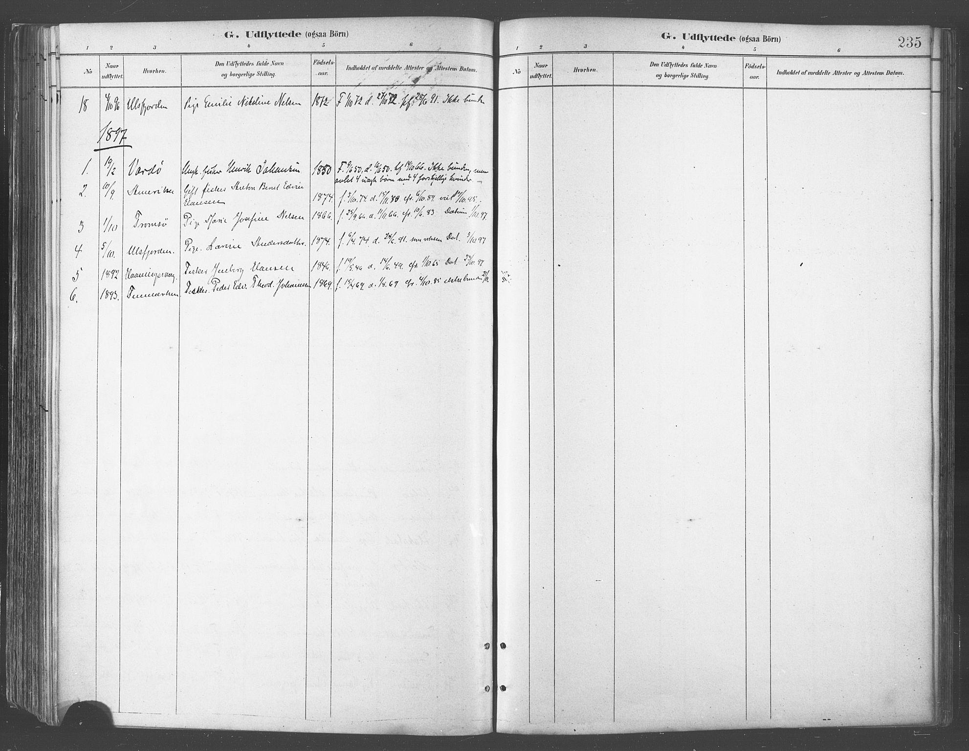 SATØ, Balsfjord sokneprestembete, Parish register (official) no. 5, 1884-1897, p. 235