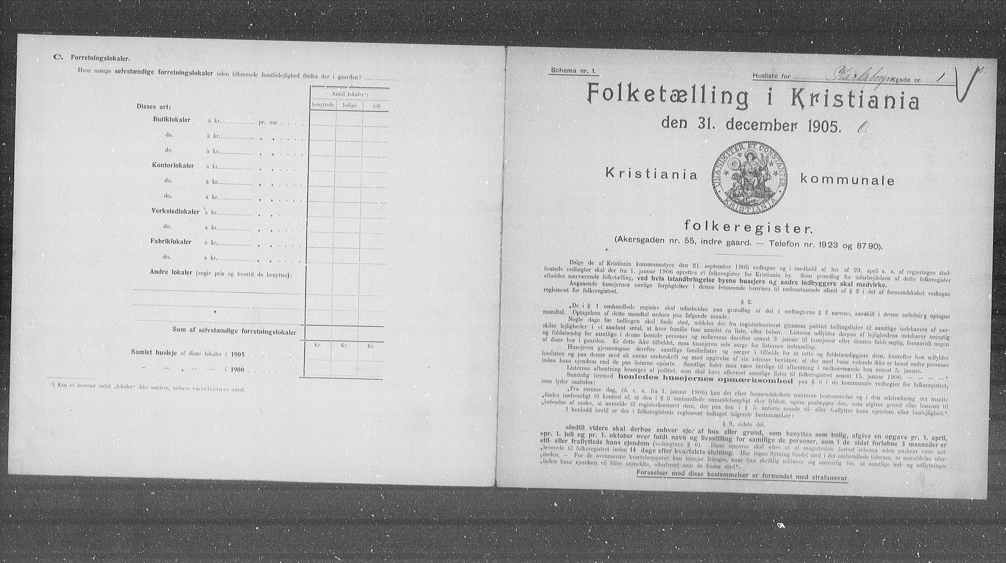 OBA, Municipal Census 1905 for Kristiania, 1905, p. 25490