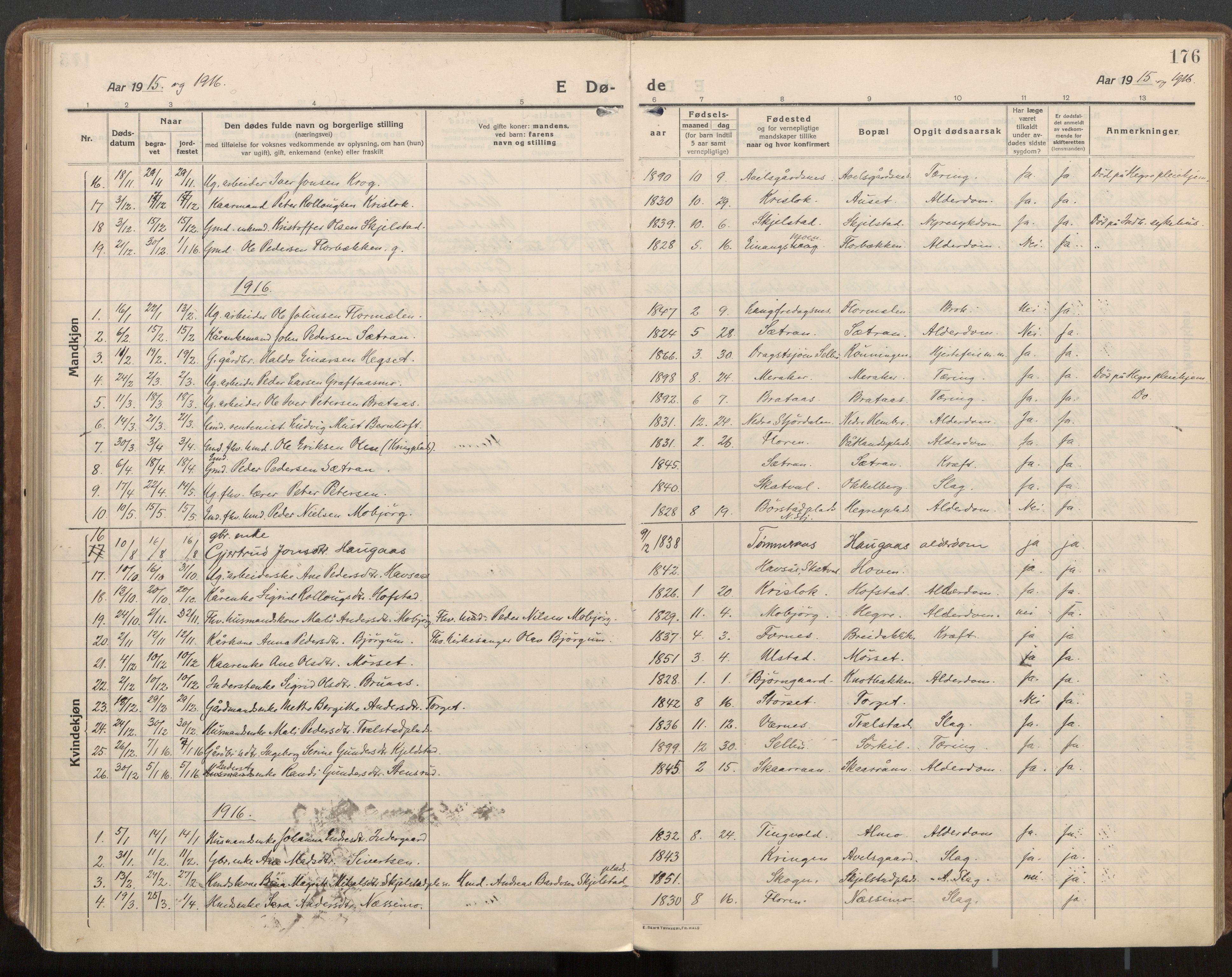 SAT, Ministerialprotokoller, klokkerbøker og fødselsregistre - Nord-Trøndelag, 703/L0037: Parish register (official) no. 703A10, 1915-1932, p. 176