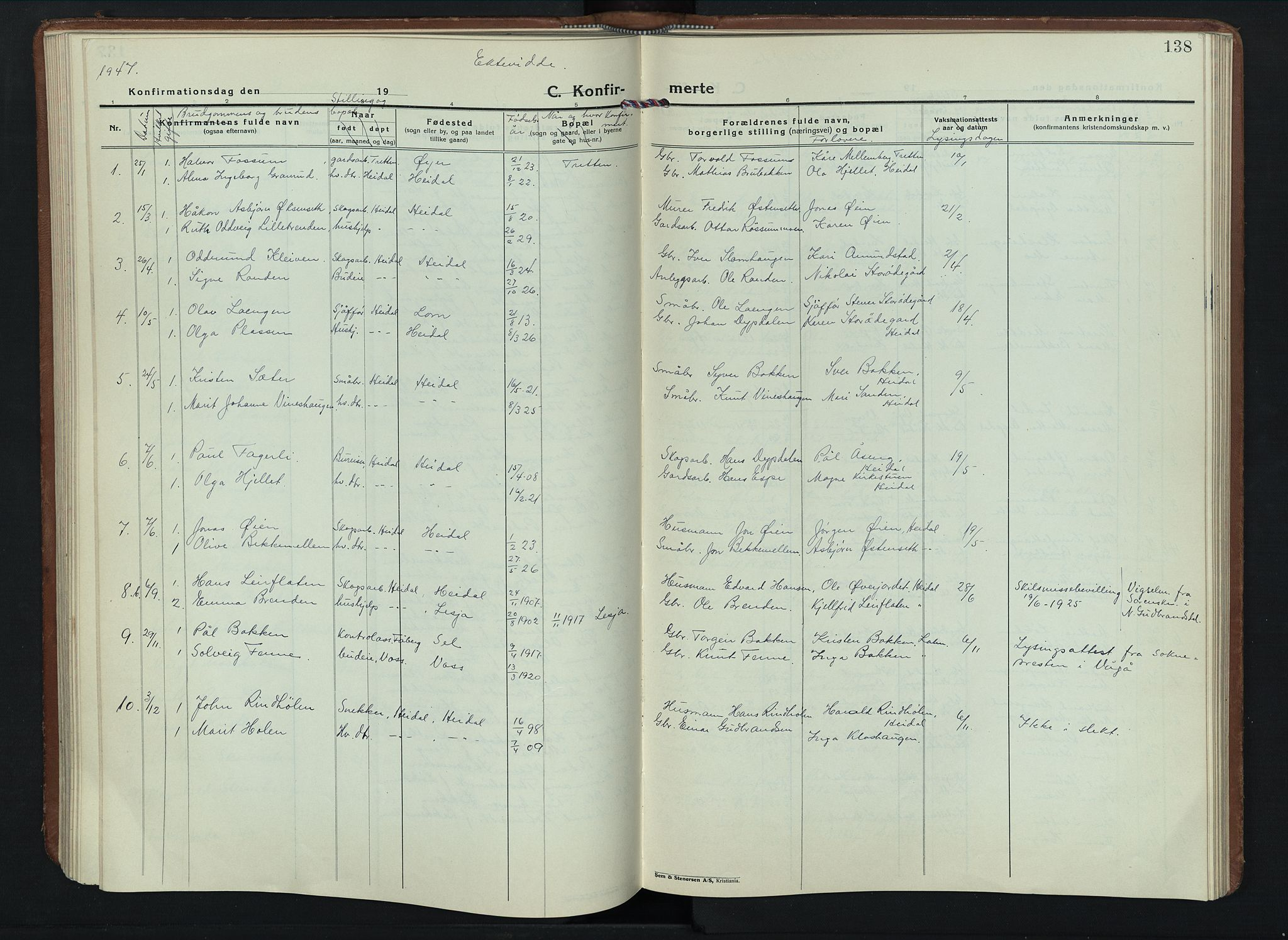 SAH, Sel prestekontor, Parish register (copy) no. 6, 1923-1953, p. 138