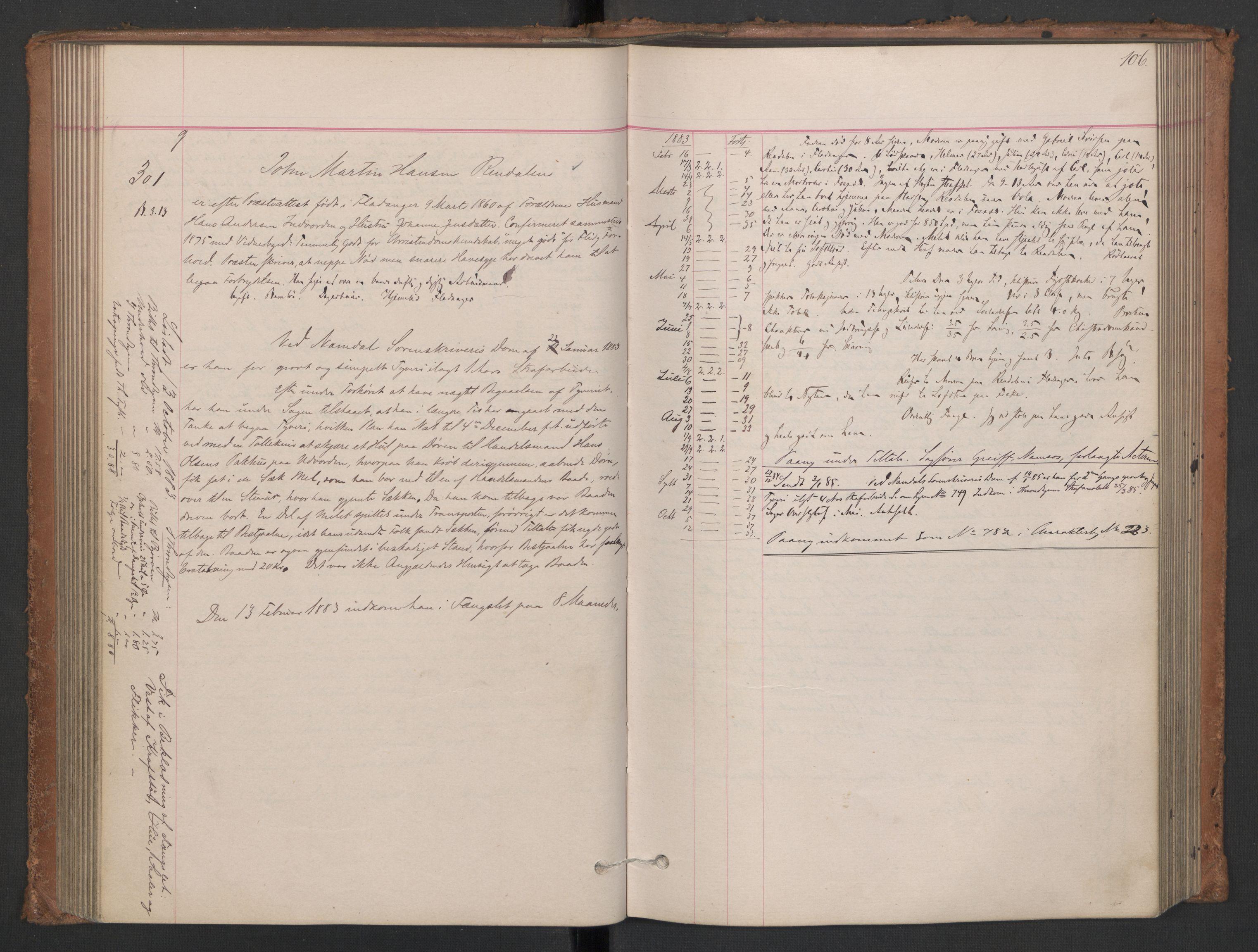 RA, Botsfengslet, D/Db/Dbb/L0021: 196g - 484g, 1882-1884, p. 106