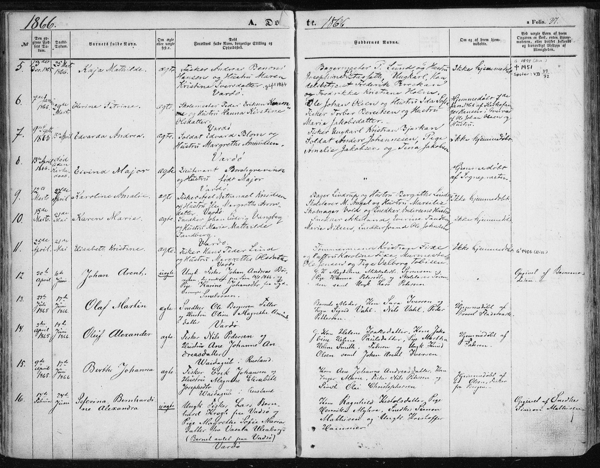 SATØ, Vardø sokneprestkontor, H/Ha/L0004kirke: Parish register (official) no. 4, 1862-1871, p. 37