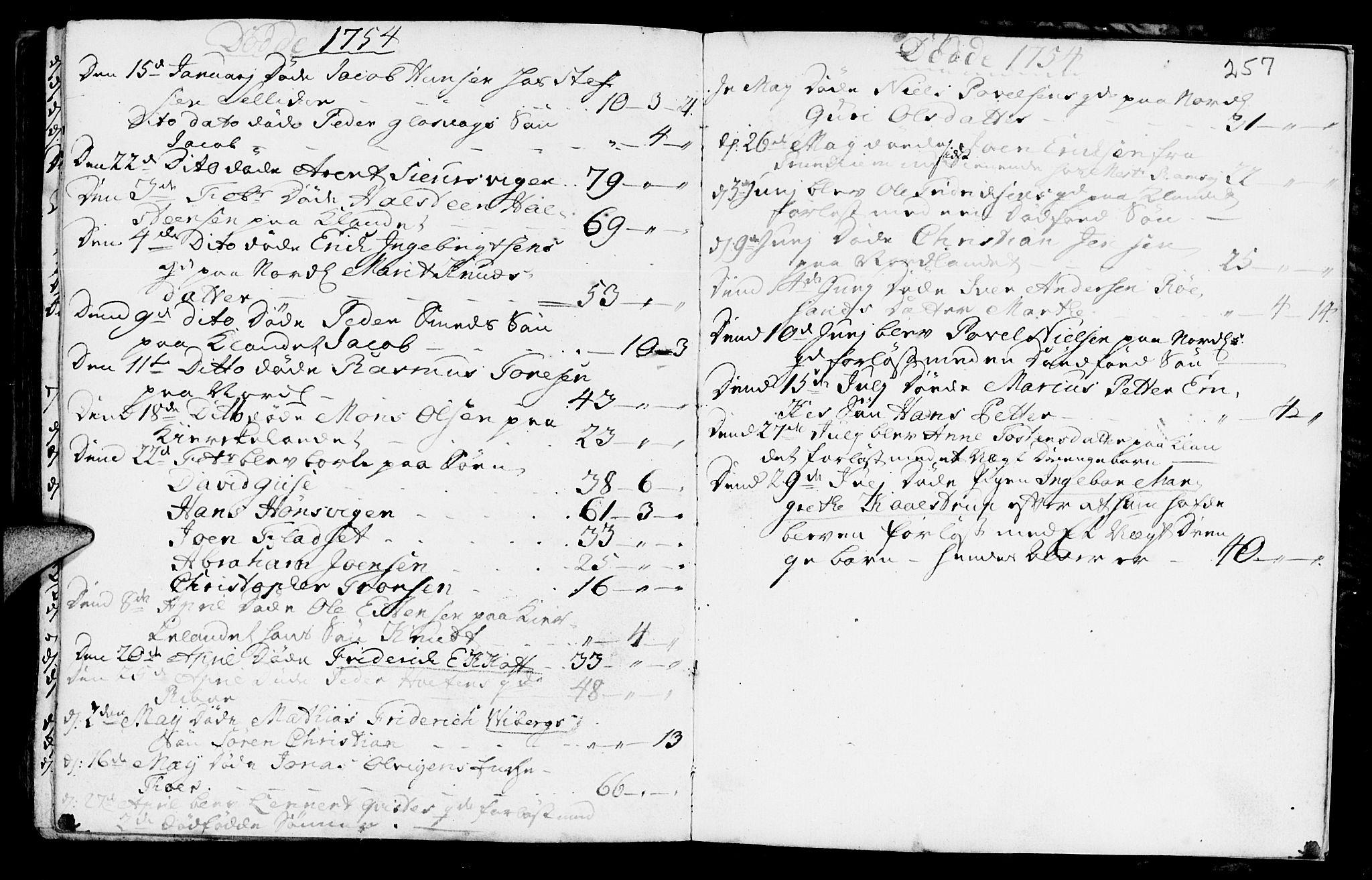SAT, Ministerialprotokoller, klokkerbøker og fødselsregistre - Møre og Romsdal, 572/L0839: Parish register (official) no. 572A02, 1739-1754, p. 256-257