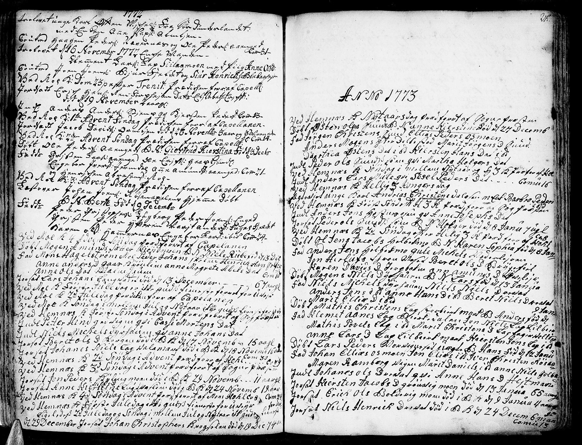 SAT, Ministerialprotokoller, klokkerbøker og fødselsregistre - Nordland, 825/L0348: Parish register (official) no. 825A04, 1752-1788, p. 215