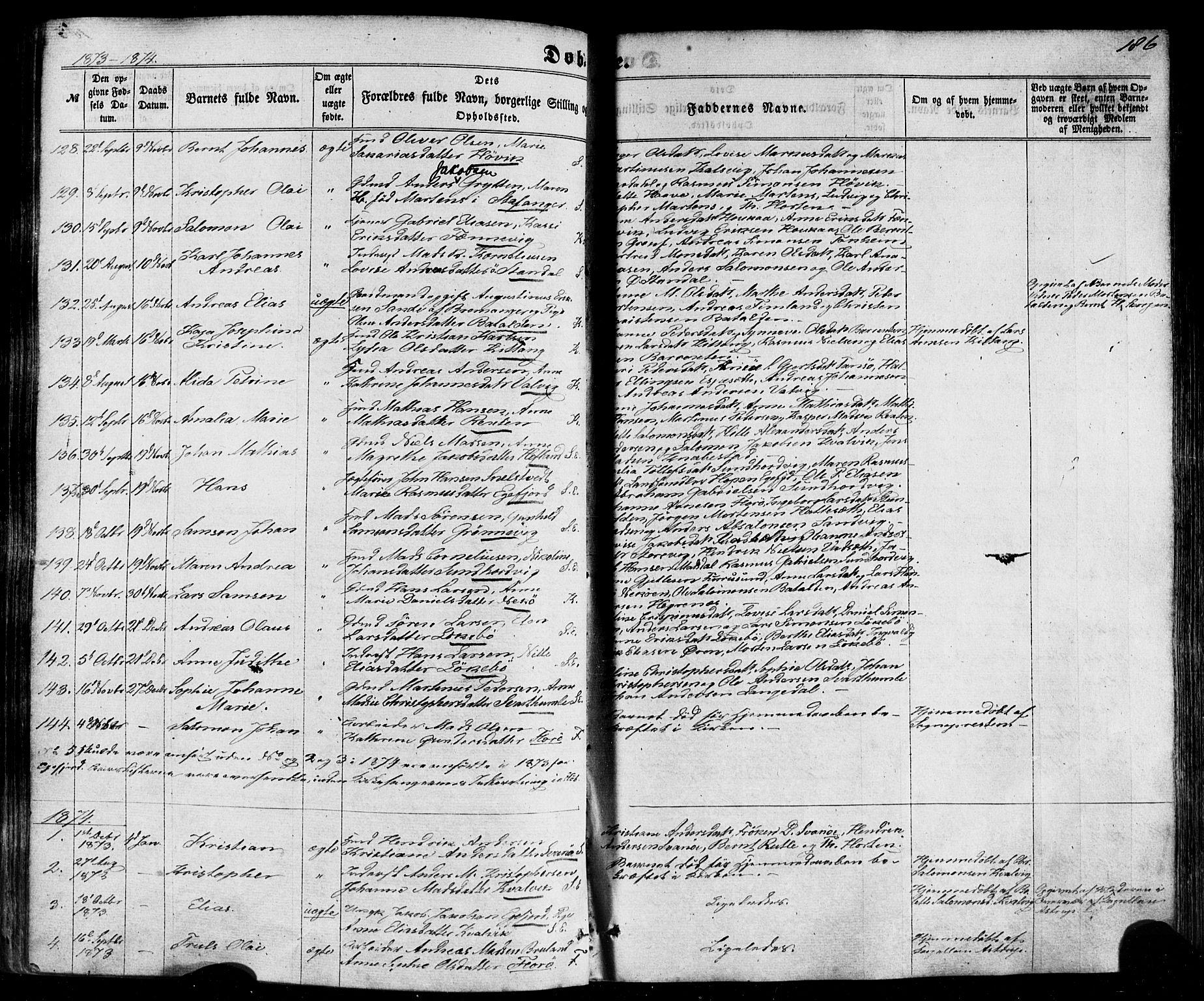 SAB, Kinn sokneprestembete, H/Haa/Haaa/L0006: Parish register (official) no. A 6, 1857-1885, p. 186