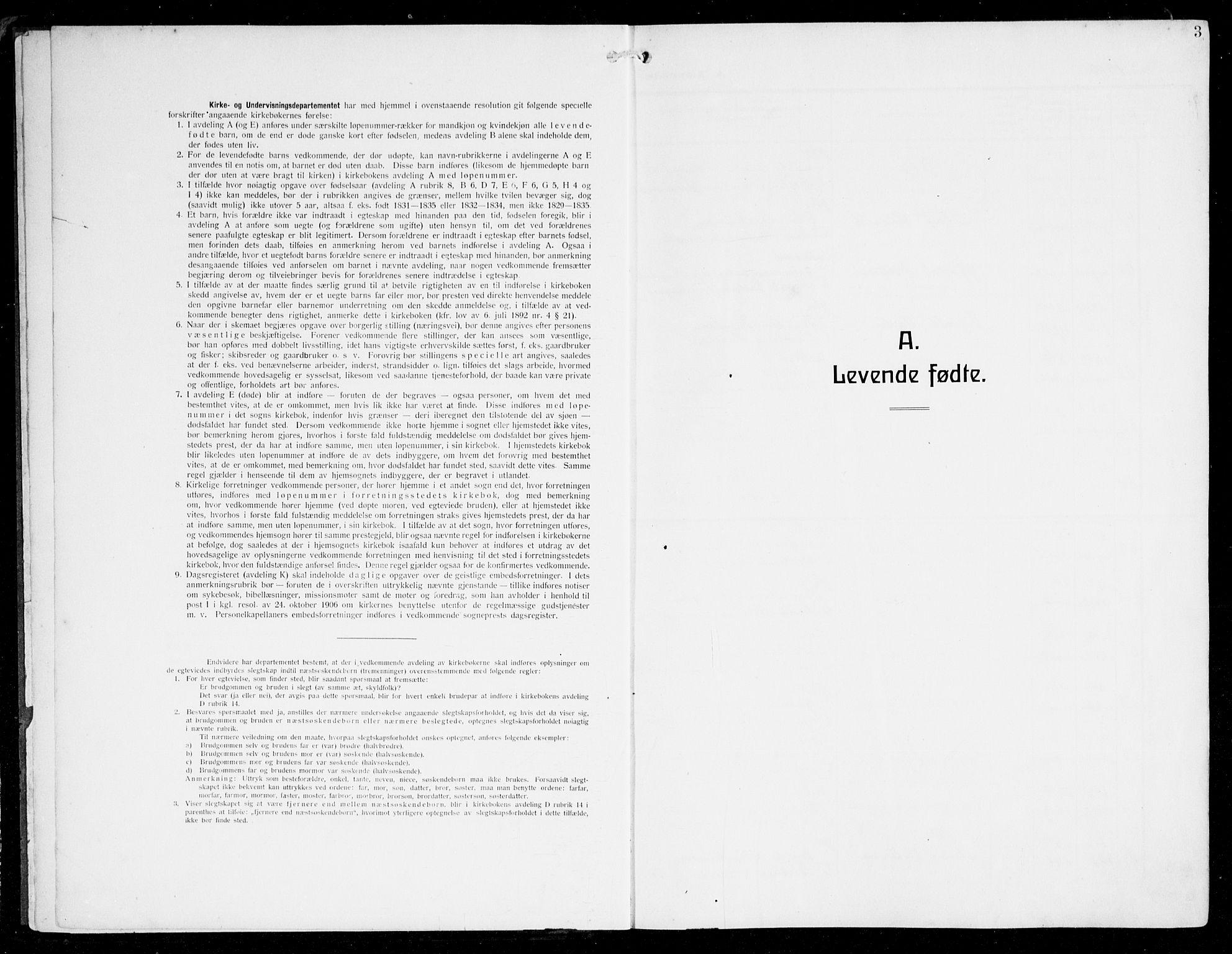 SAB, Herdla Sokneprestembete, H/Hab: Parish register (copy) no. C 2, 1913-1926, p. 3