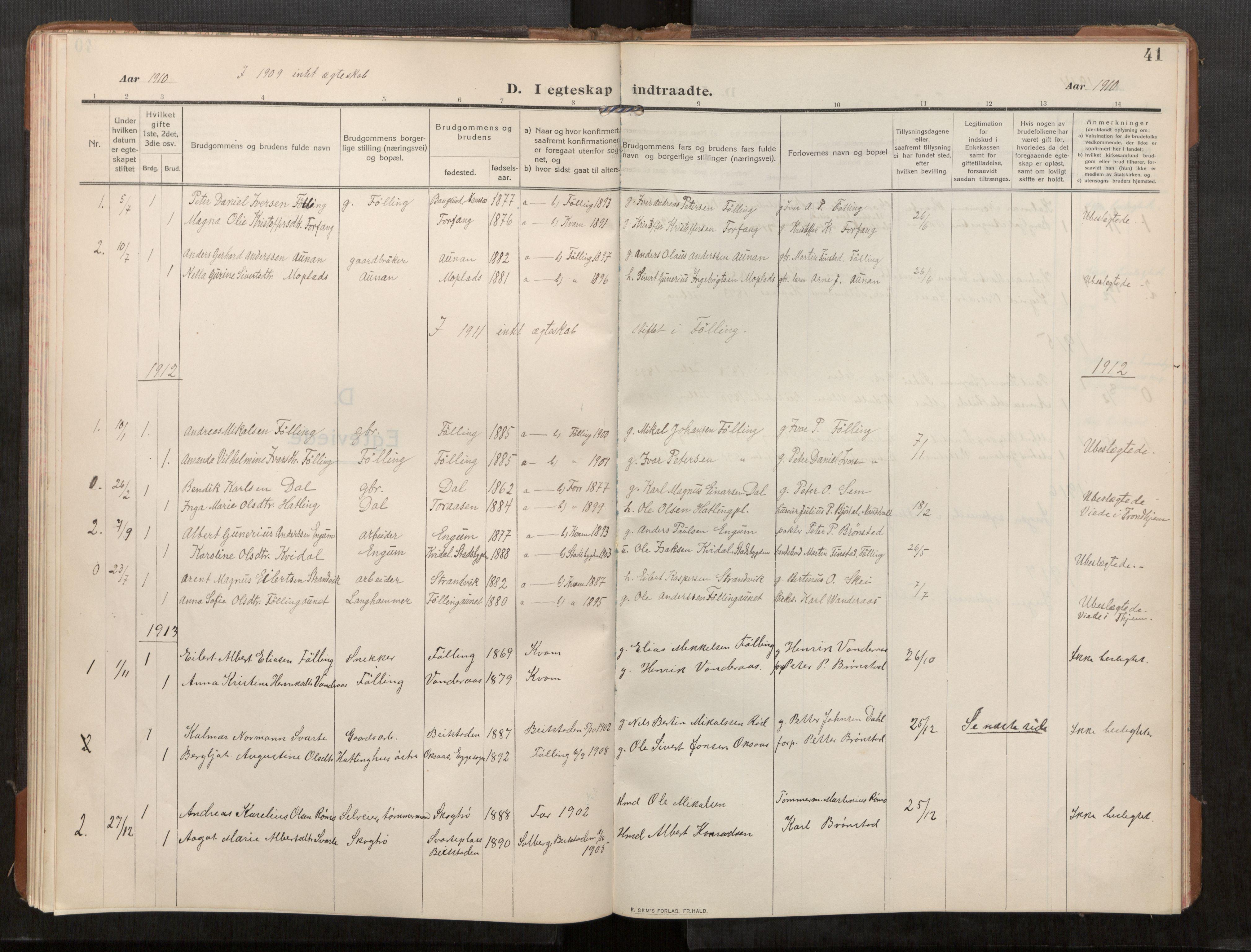 SAT, Stod sokneprestkontor, I/I1/I1a/L0003: Parish register (official) no. 3, 1909-1934, p. 41