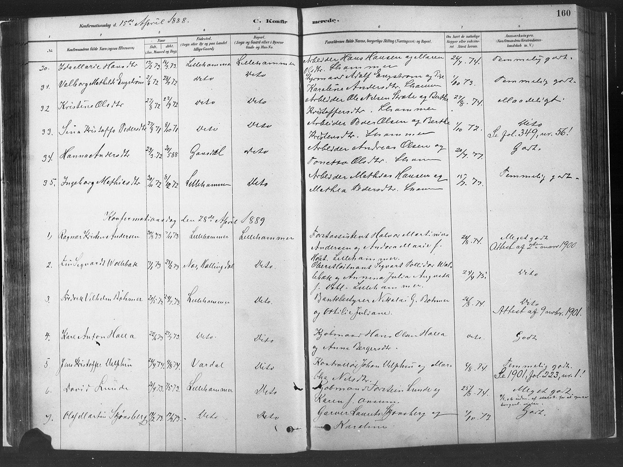 SAH, Fåberg prestekontor, H/Ha/Haa/L0010: Parish register (official) no. 10, 1879-1900, p. 160