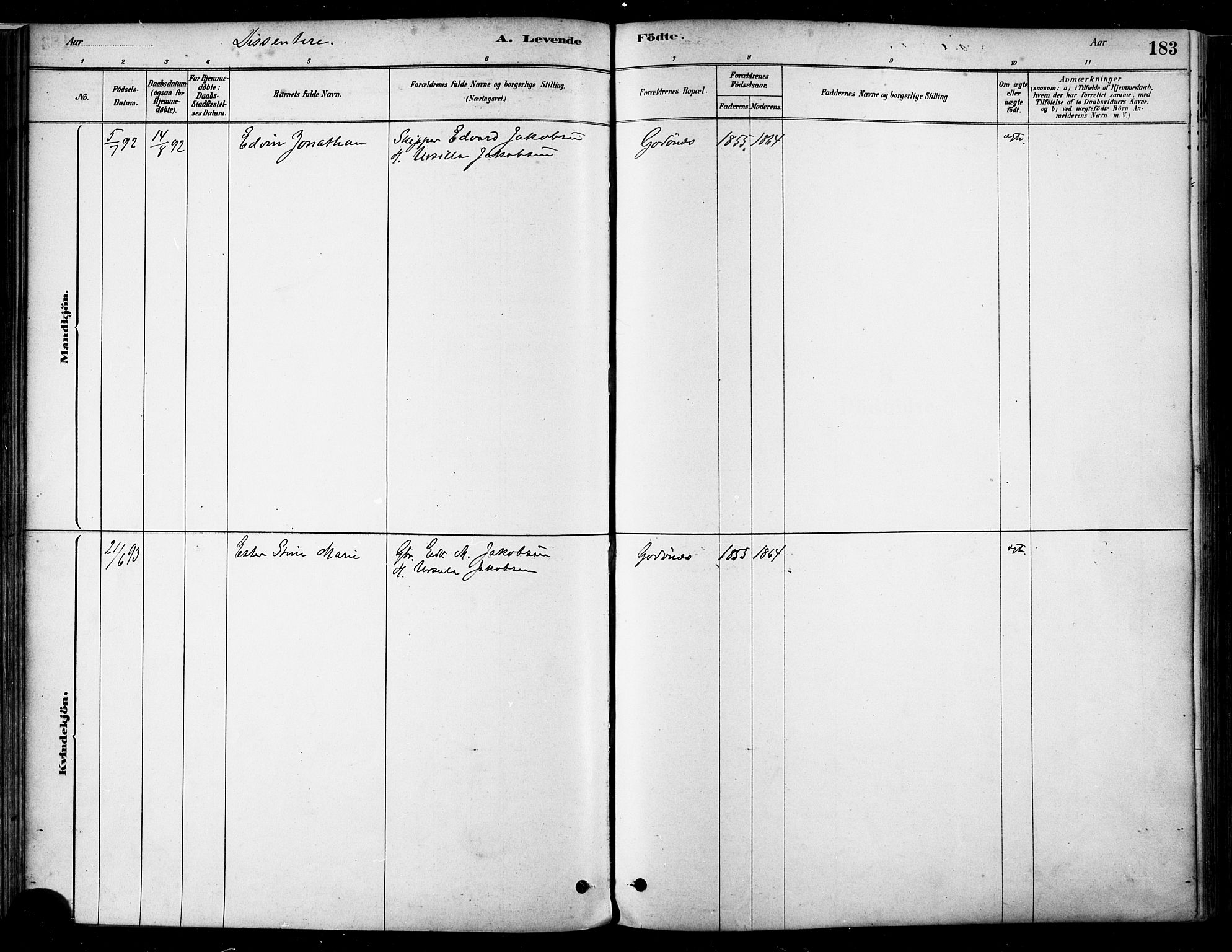 SAT, Ministerialprotokoller, klokkerbøker og fødselsregistre - Nordland, 802/L0054: Parish register (official) no. 802A01, 1879-1893, p. 183