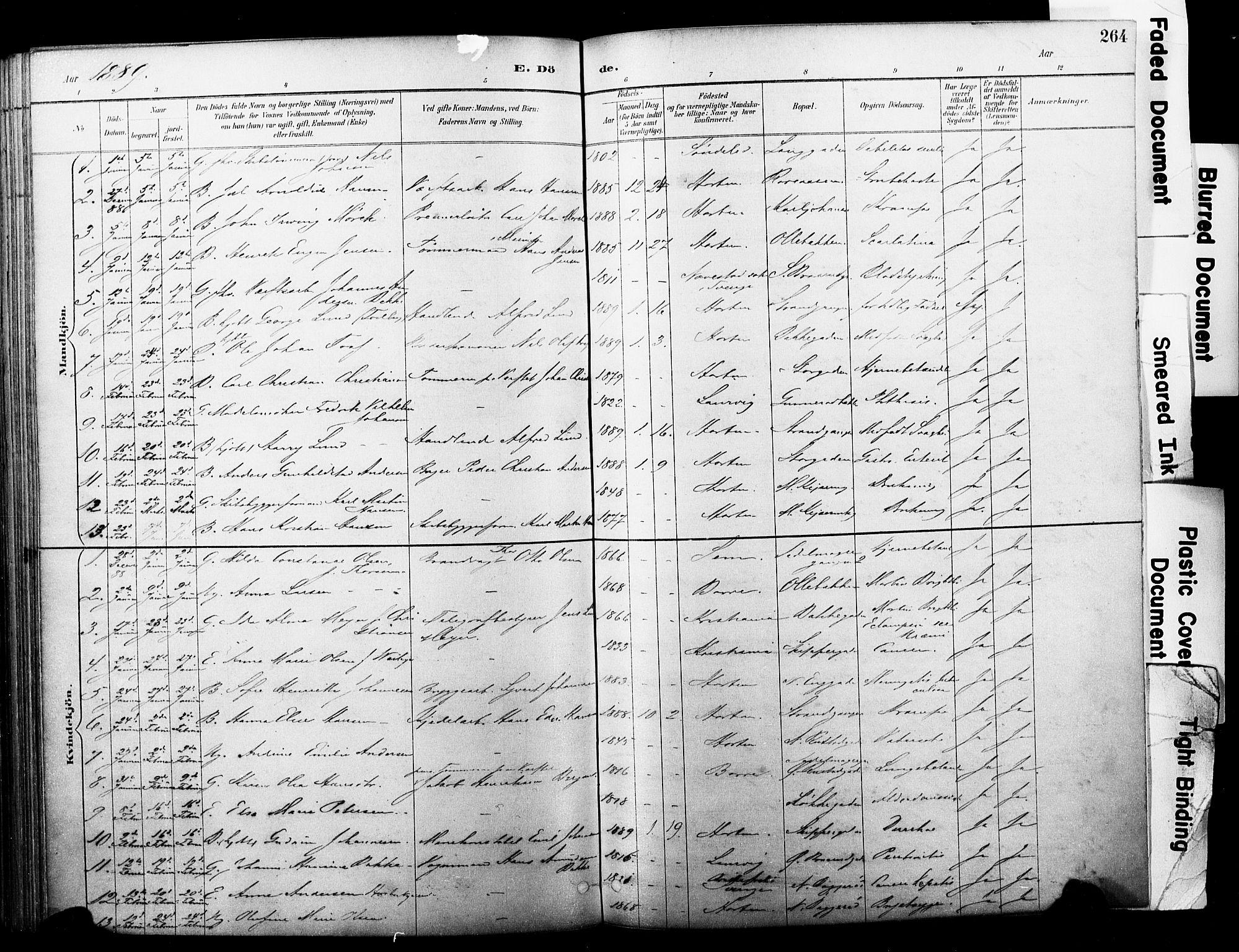 SAKO, Horten kirkebøker, F/Fa/L0004: Parish register (official) no. 4, 1888-1895, p. 264