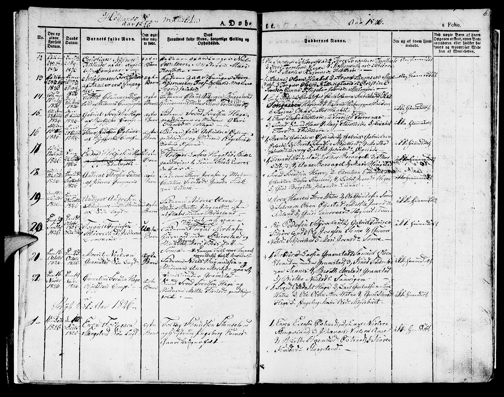 SAST, Høyland sokneprestkontor, 30BA/L0007: Parish register (official) no. A 7 /1, 1825-1841, p. 6