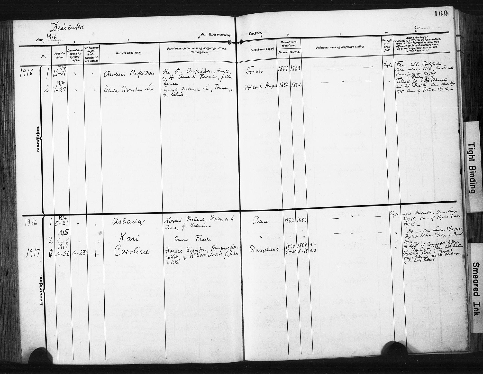 SAST, Høyland sokneprestkontor, 30BA/L0017: Parish register (official) no. A 15, 1912-1924, p. 169