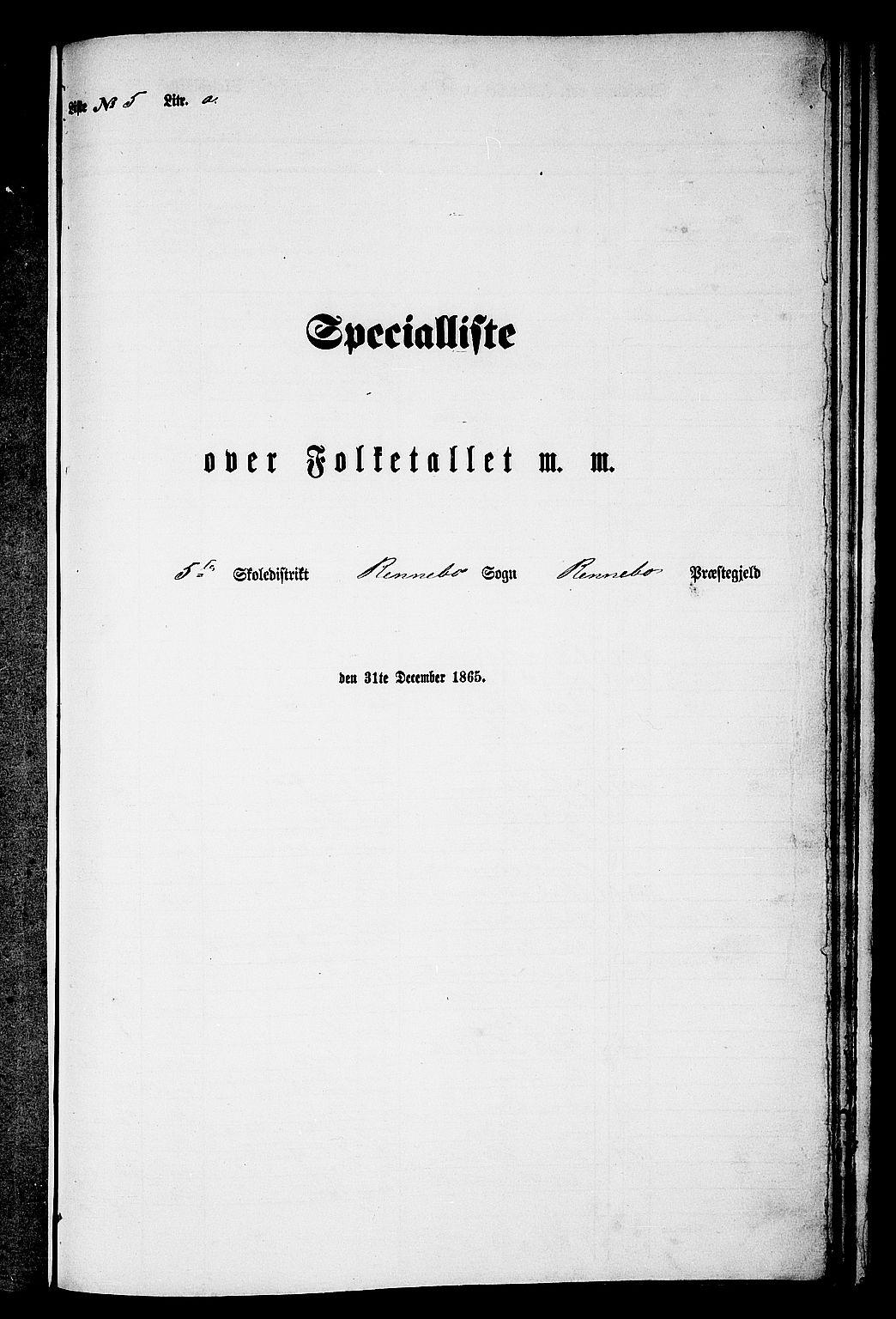 RA, 1865 census for Rennebu, 1865, p. 82