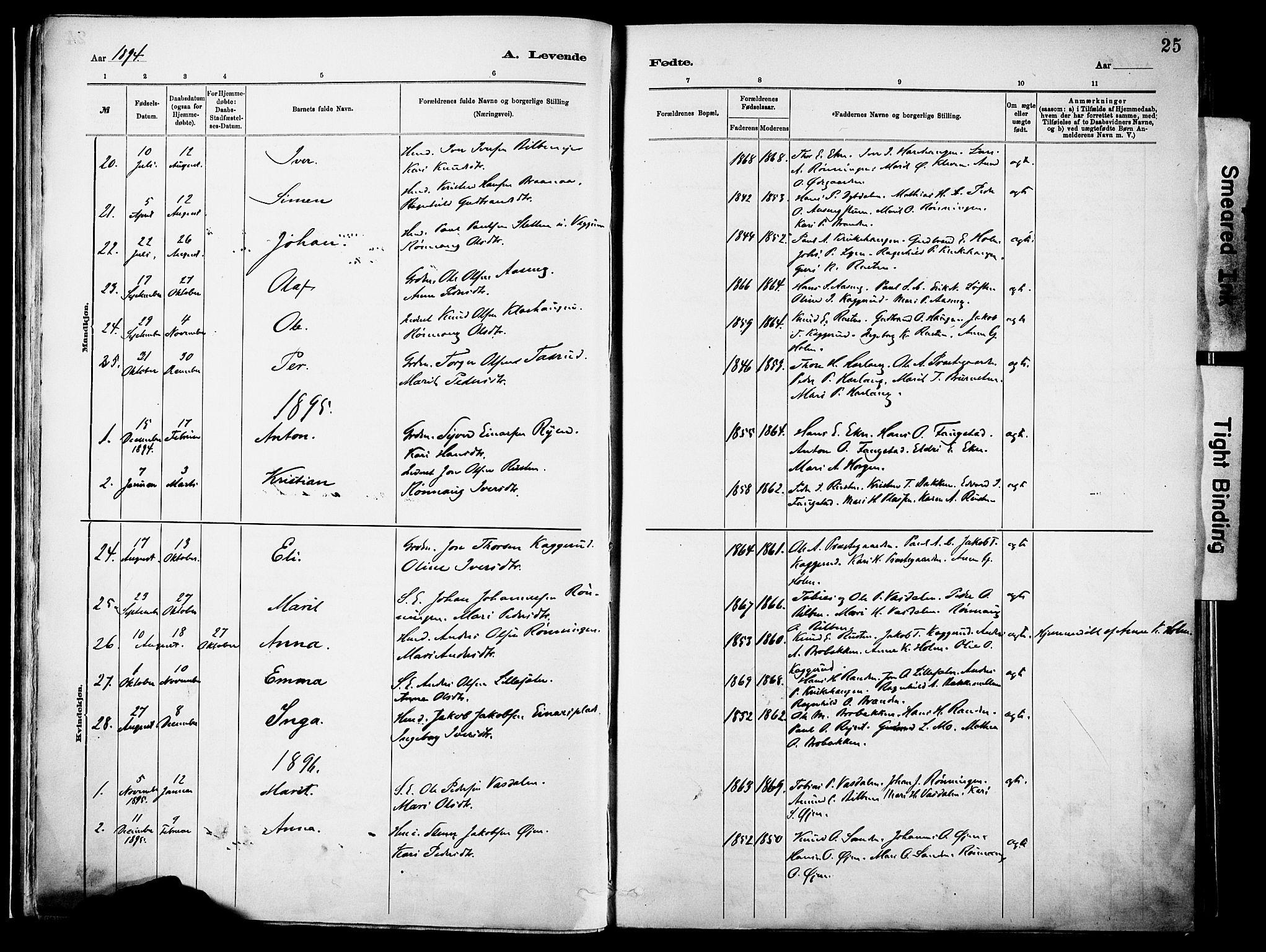 SAH, Vågå prestekontor, Parish register (official) no. 10, 1887-1904, p. 25