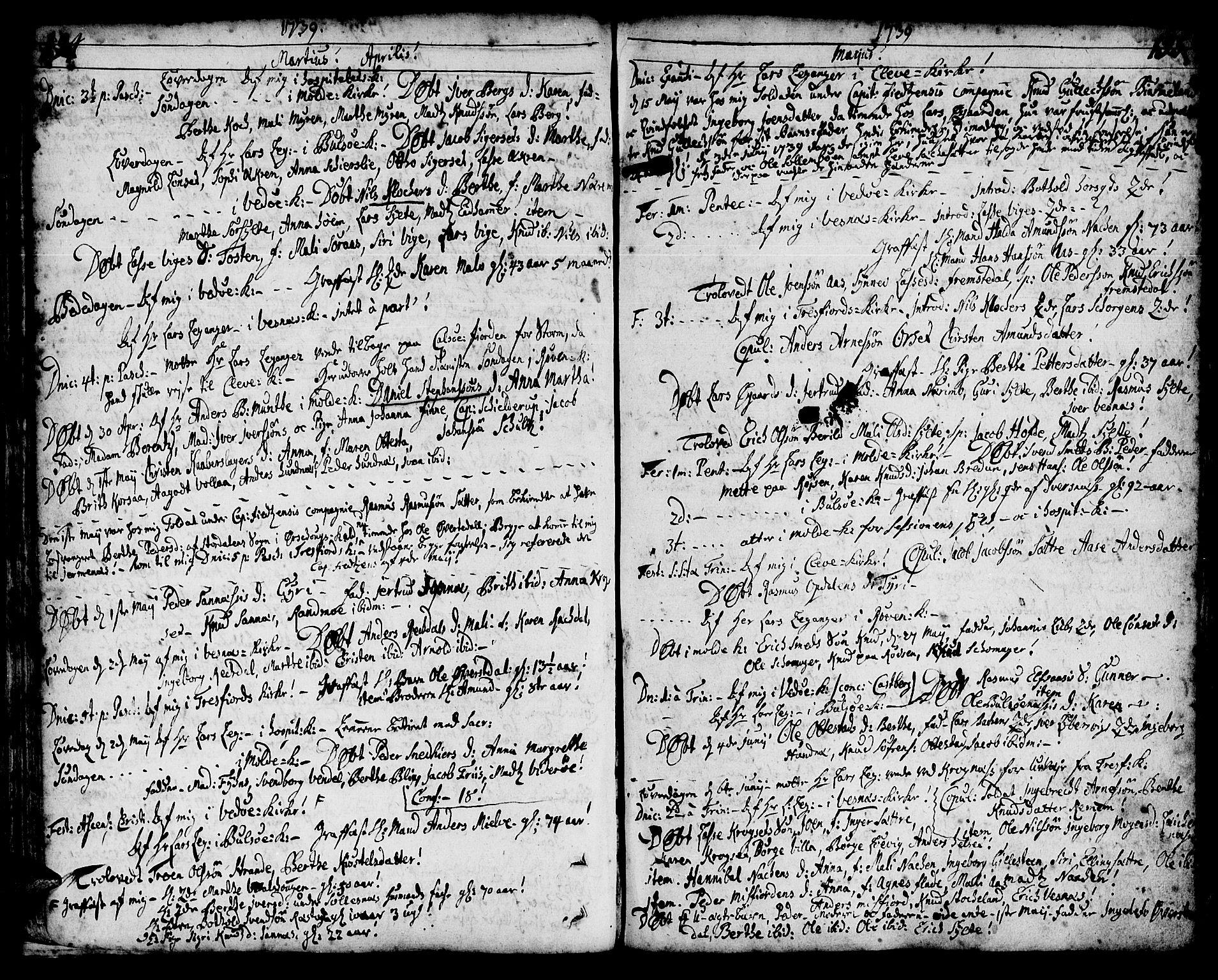 SAT, Ministerialprotokoller, klokkerbøker og fødselsregistre - Møre og Romsdal, 547/L0599: Parish register (official) no. 547A01, 1721-1764, p. 196-197