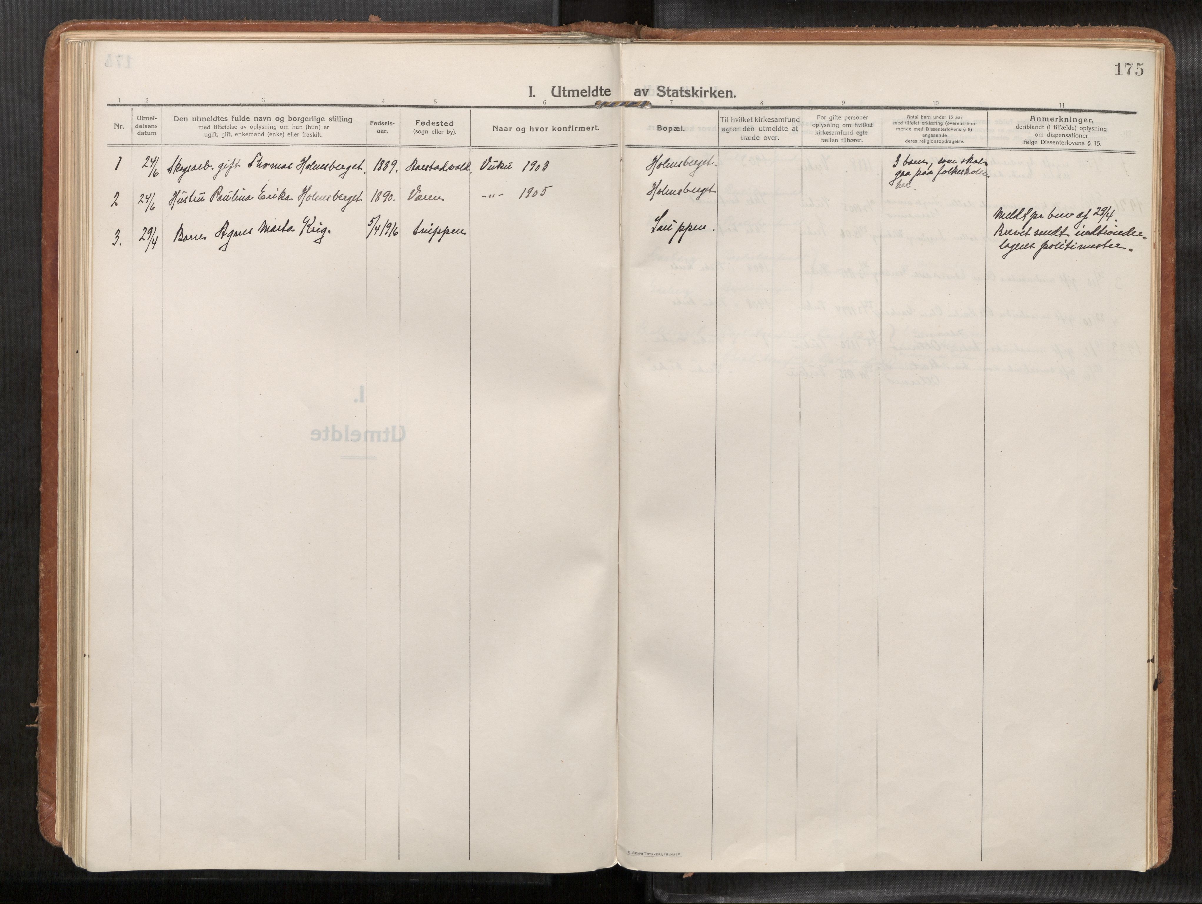 SAT, Verdal sokneprestkontor*, Parish register (official) no. 1, 1916-1928, p. 175