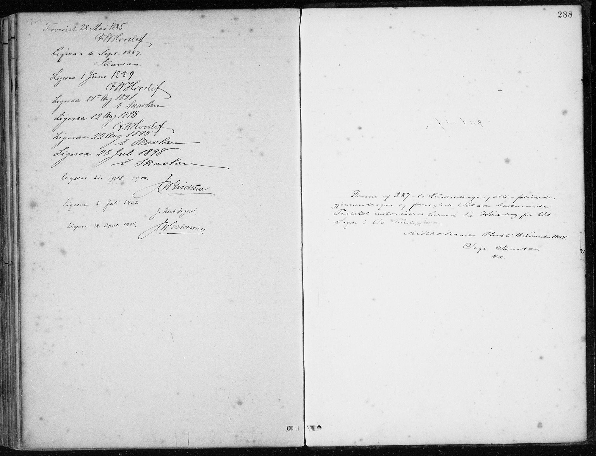 SAB, Os sokneprestembete*, Parish register (official) no. B 1, 1885-1902, p. 288