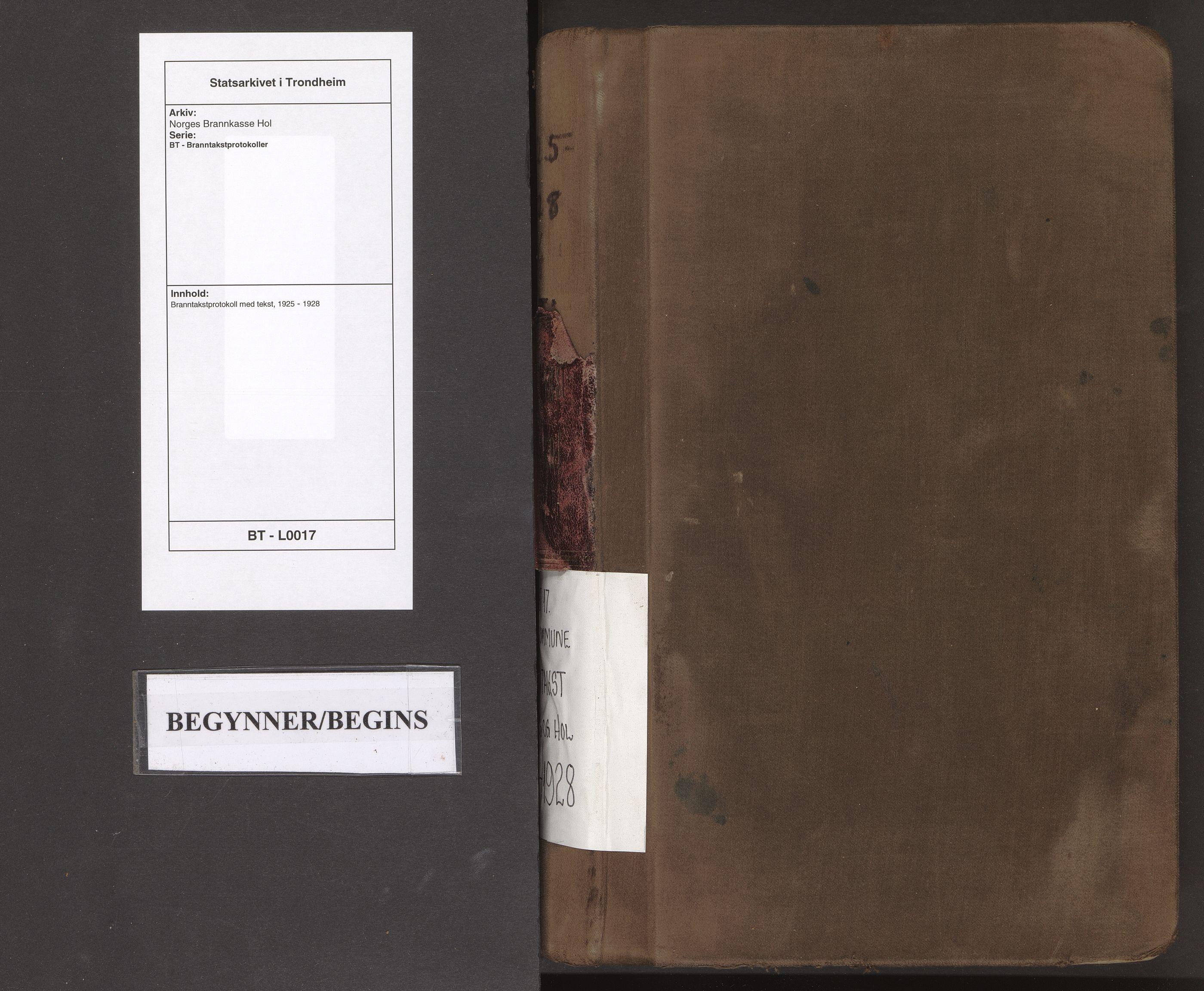 SAT, Norges Brannkasse Hol, BT/L0017: Branntakstprotokoll med tekst, 1925-1928