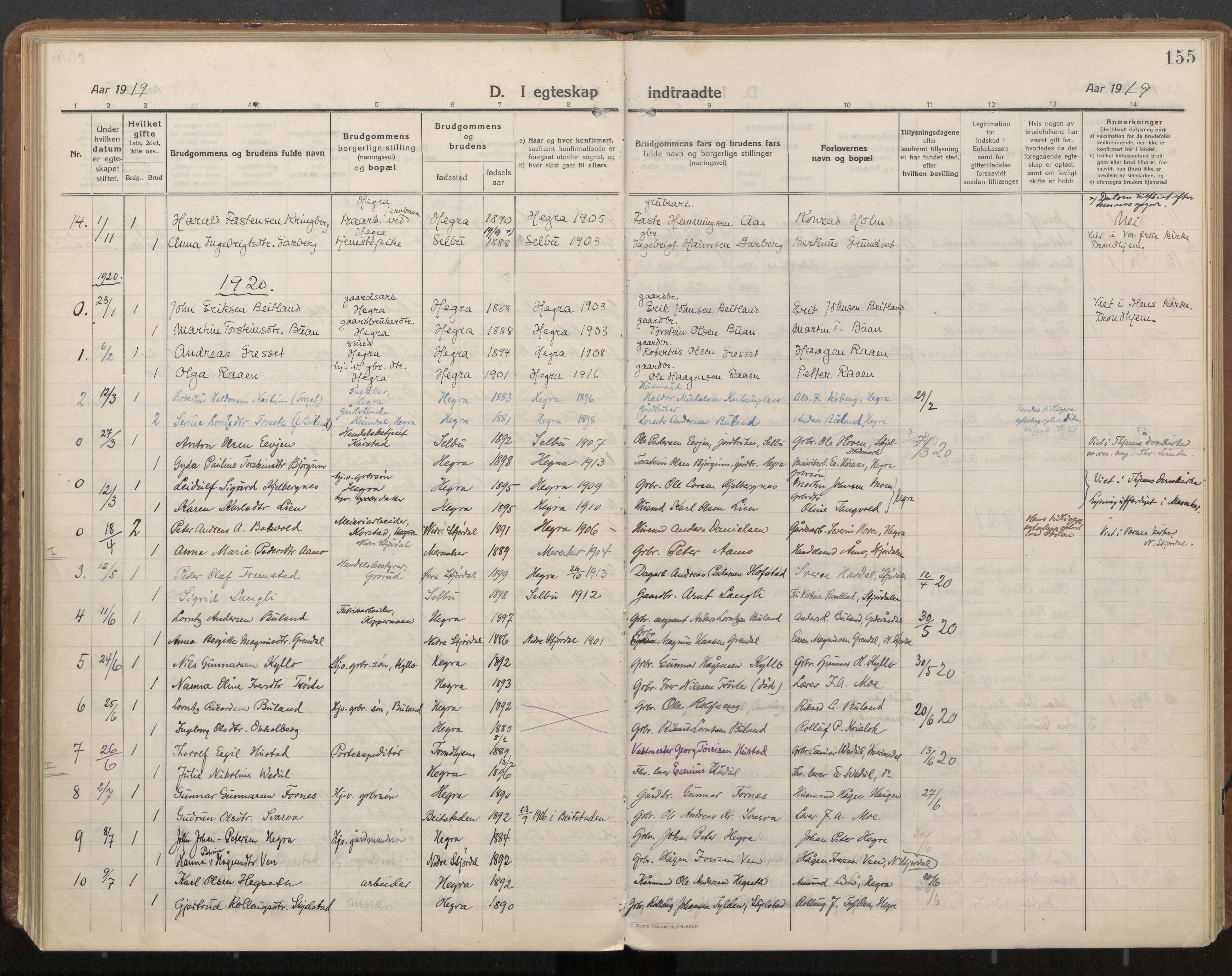SAT, Ministerialprotokoller, klokkerbøker og fødselsregistre - Nord-Trøndelag, 703/L0037: Parish register (official) no. 703A10, 1915-1932, p. 155