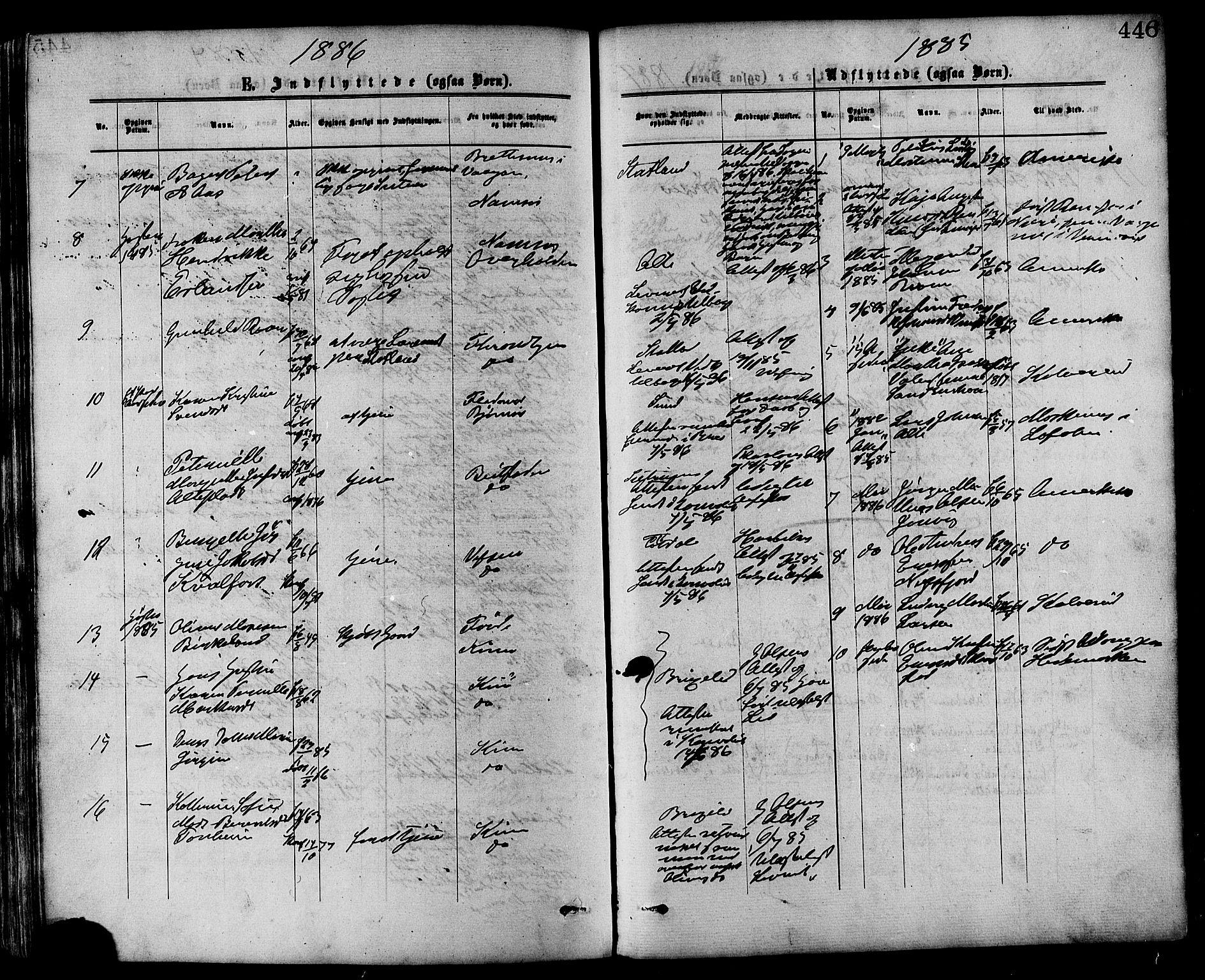 SAT, Ministerialprotokoller, klokkerbøker og fødselsregistre - Nord-Trøndelag, 773/L0616: Parish register (official) no. 773A07, 1870-1887, p. 446