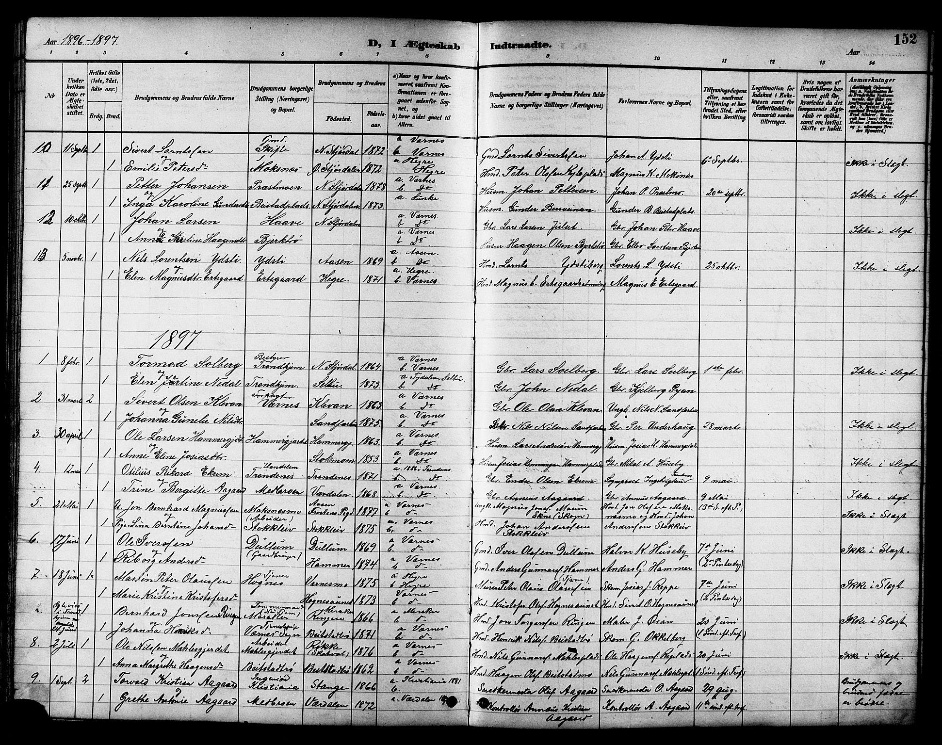 SAT, Ministerialprotokoller, klokkerbøker og fødselsregistre - Nord-Trøndelag, 709/L0087: Parish register (copy) no. 709C01, 1892-1913, p. 152