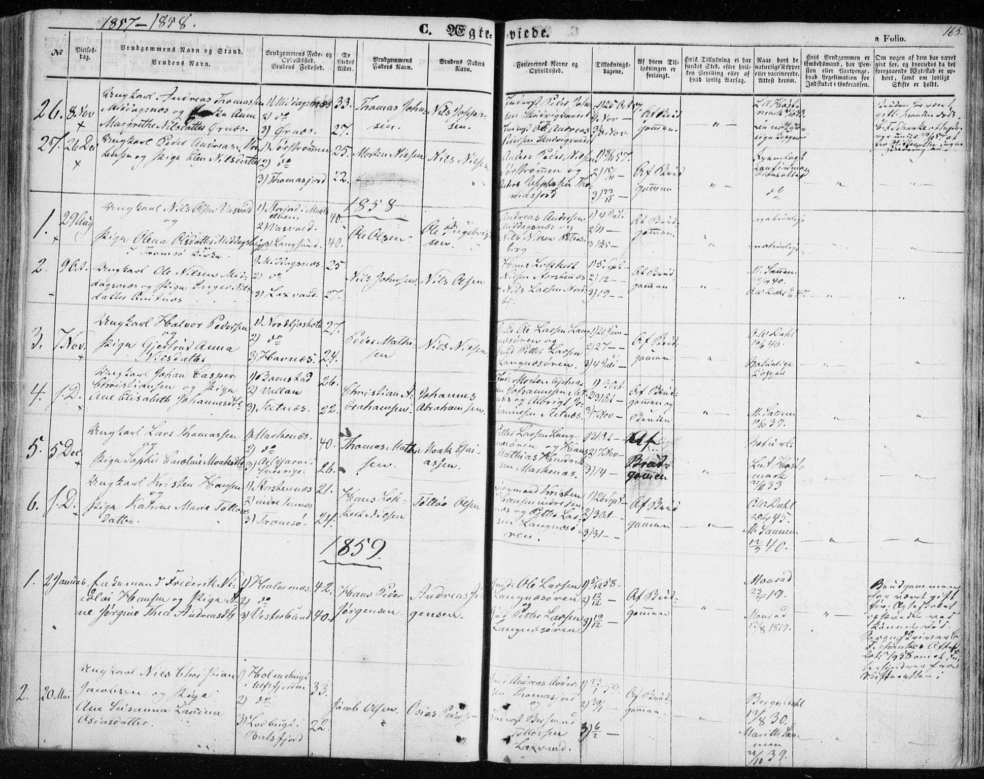 SATØ, Balsfjord sokneprestembete, Parish register (official) no. 3, 1856-1870, p. 165