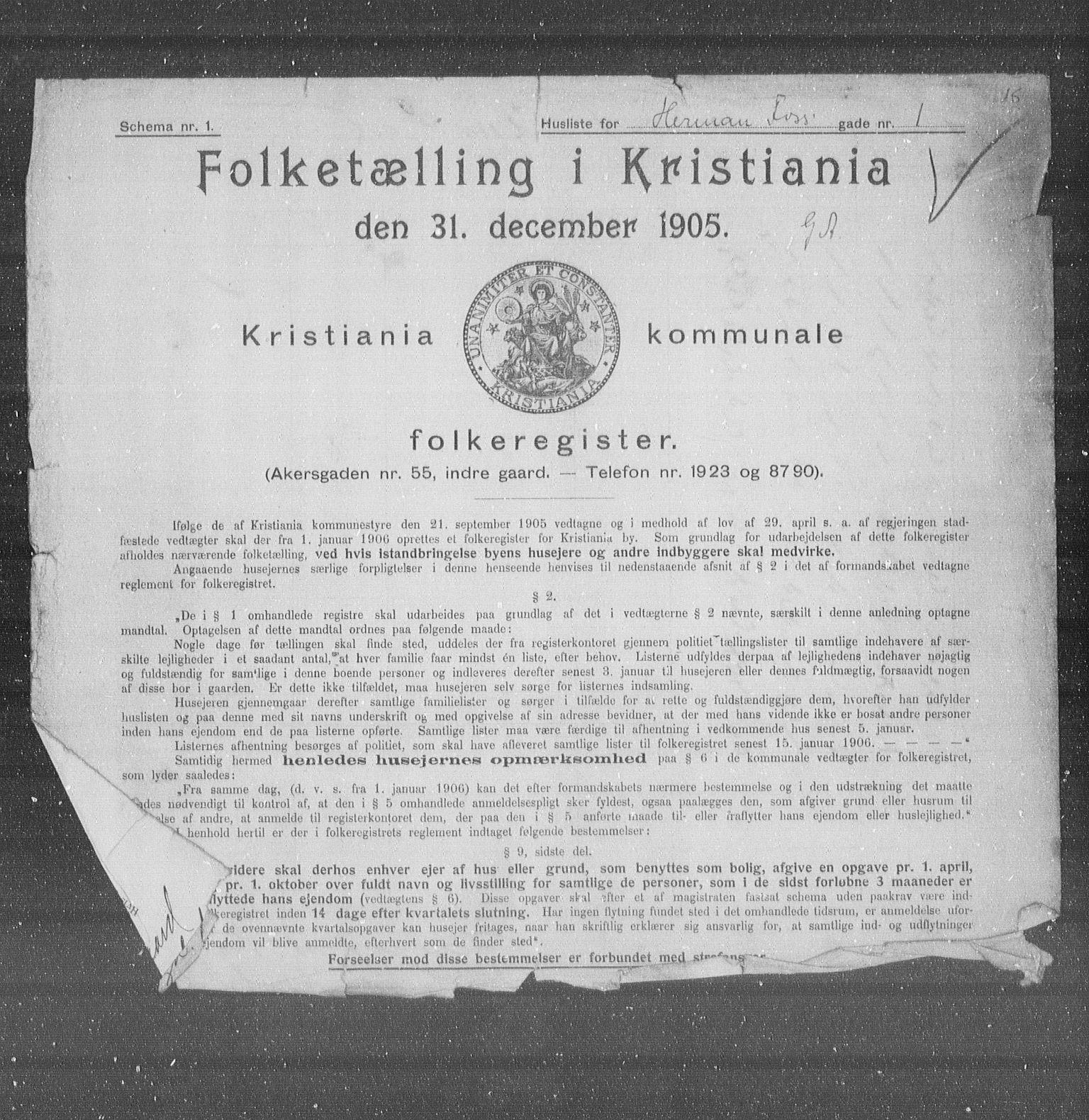 OBA, Municipal Census 1905 for Kristiania, 1905, p. 20040