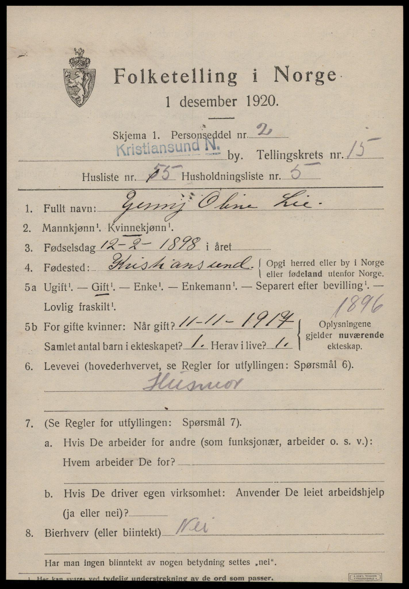 SAT, 1920 census for Kristiansund, 1920, p. 31963