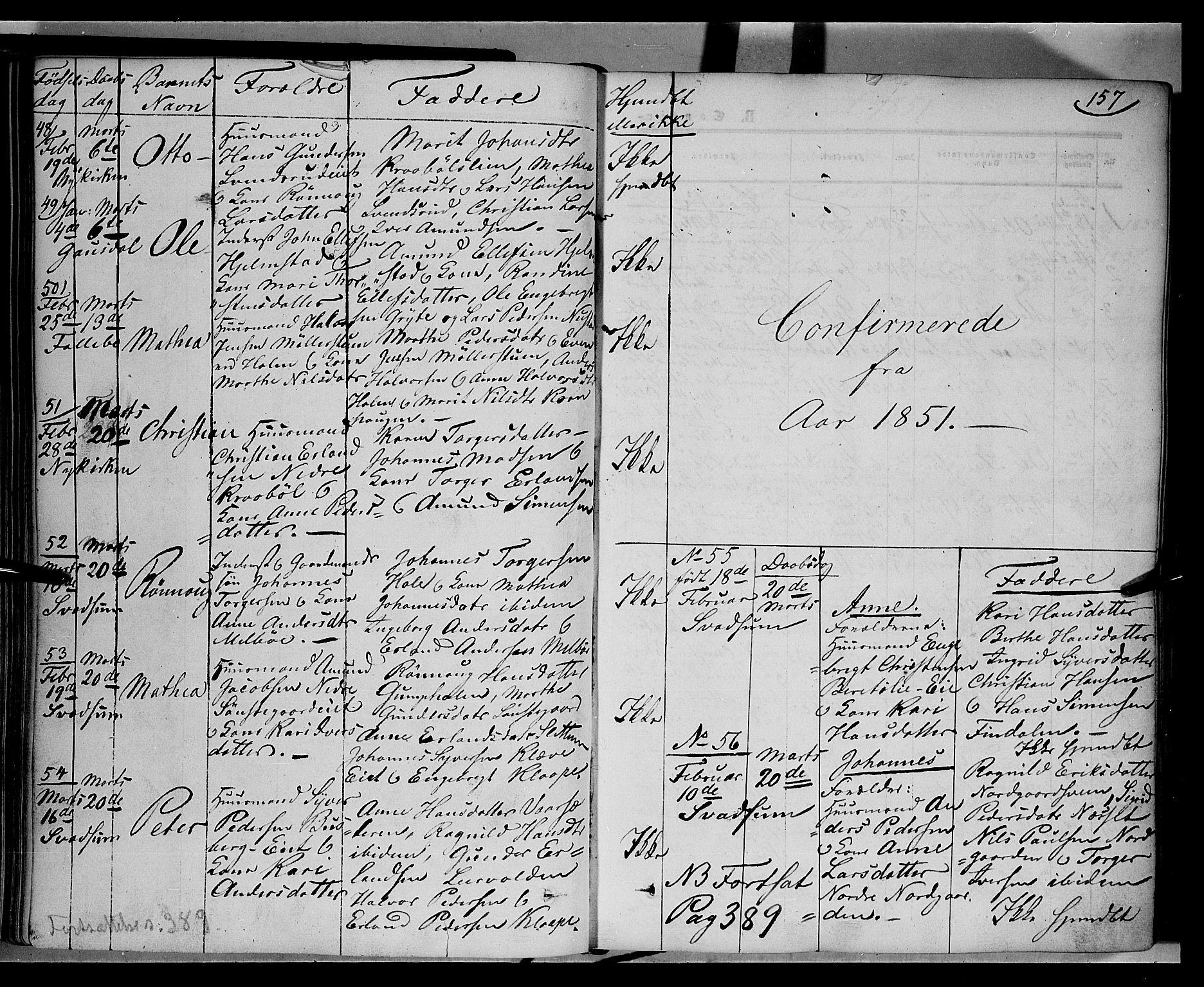 SAH, Gausdal prestekontor, Parish register (official) no. 8, 1850-1861, p. 157