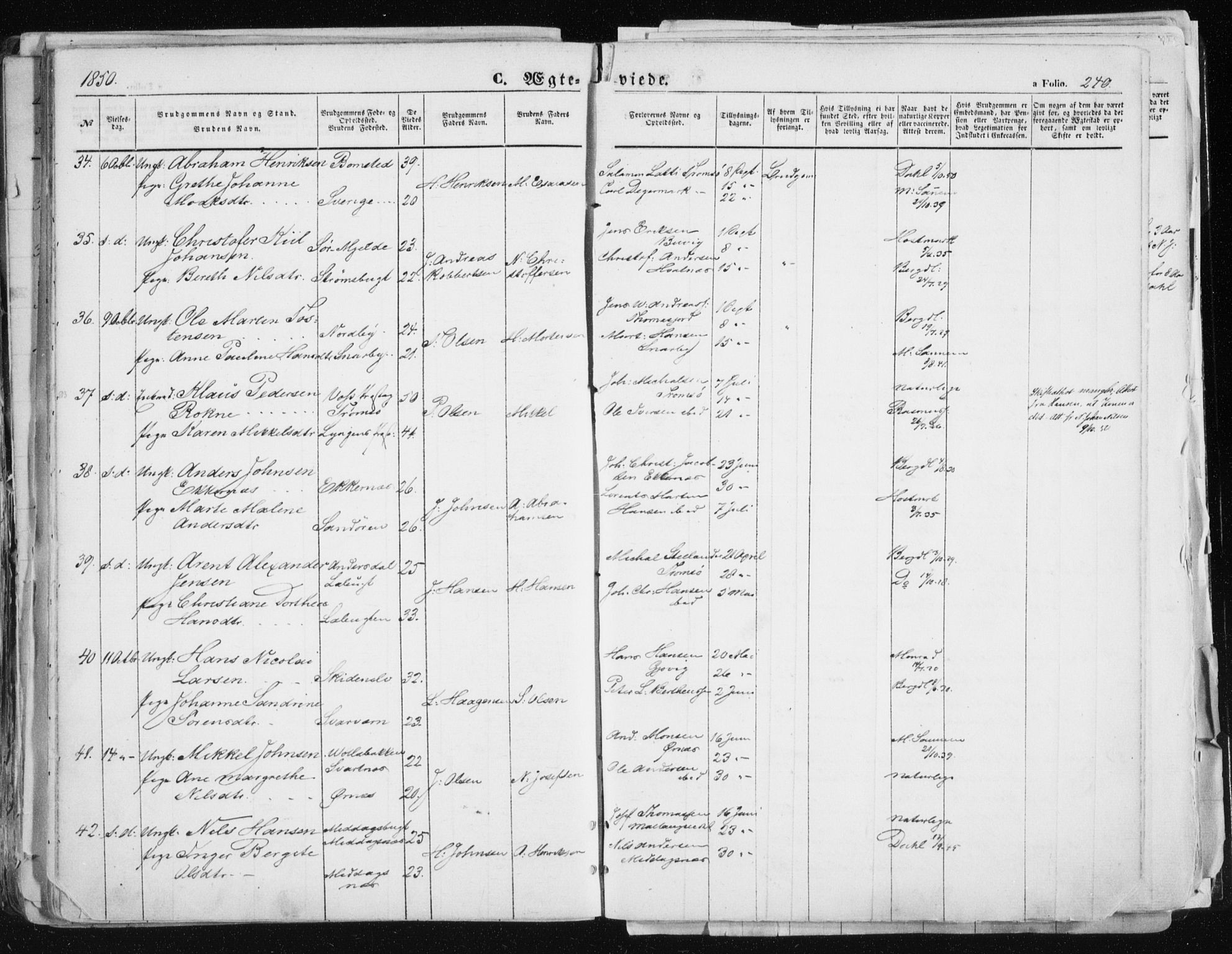 SATØ, Tromsø sokneprestkontor/stiftsprosti/domprosti, G/Ga/L0010kirke: Parish register (official) no. 10, 1848-1855, p. 240