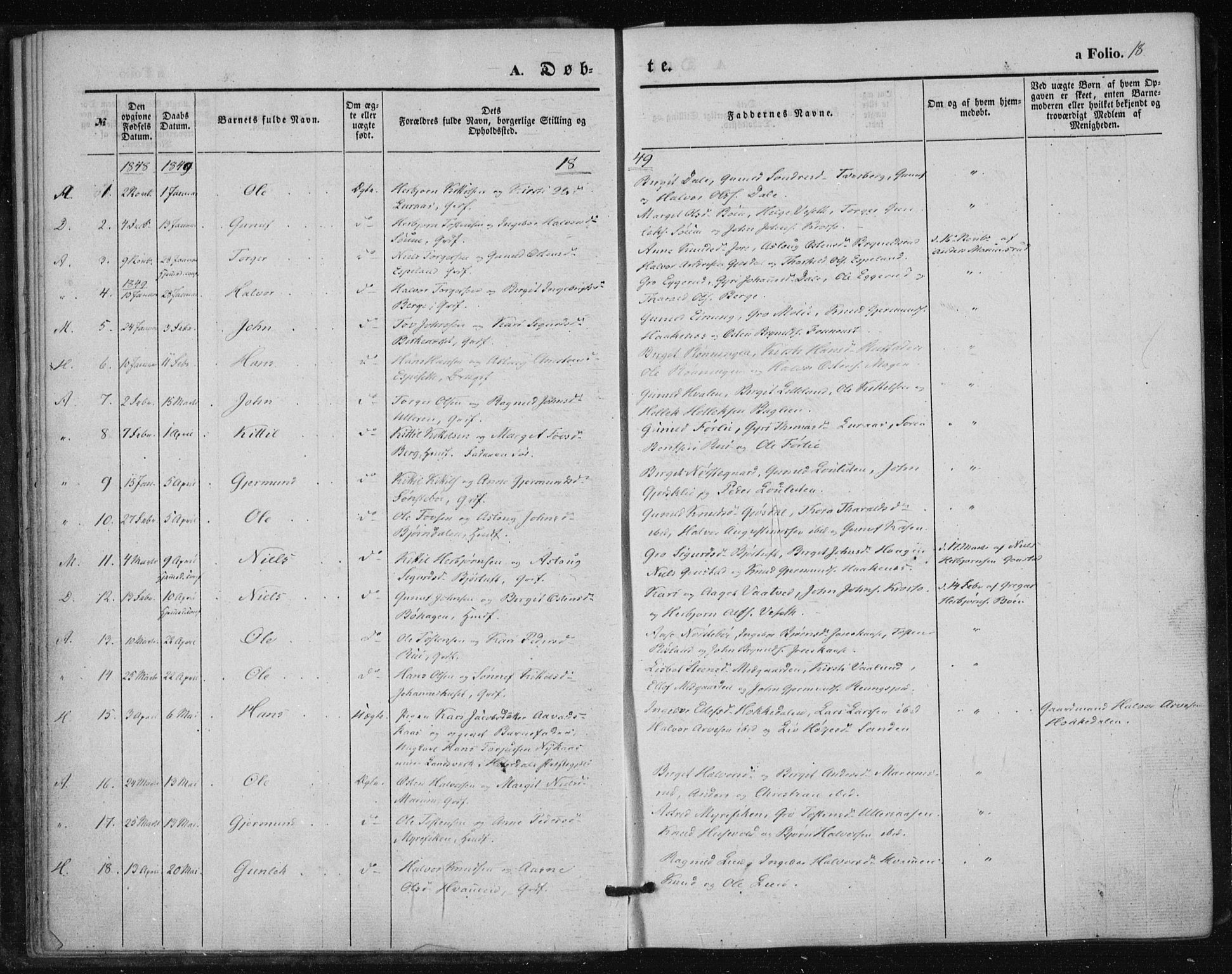 SAKO, Tinn kirkebøker, F/Fa/L0005: Parish register (official) no. I 5, 1844-1856, p. 18