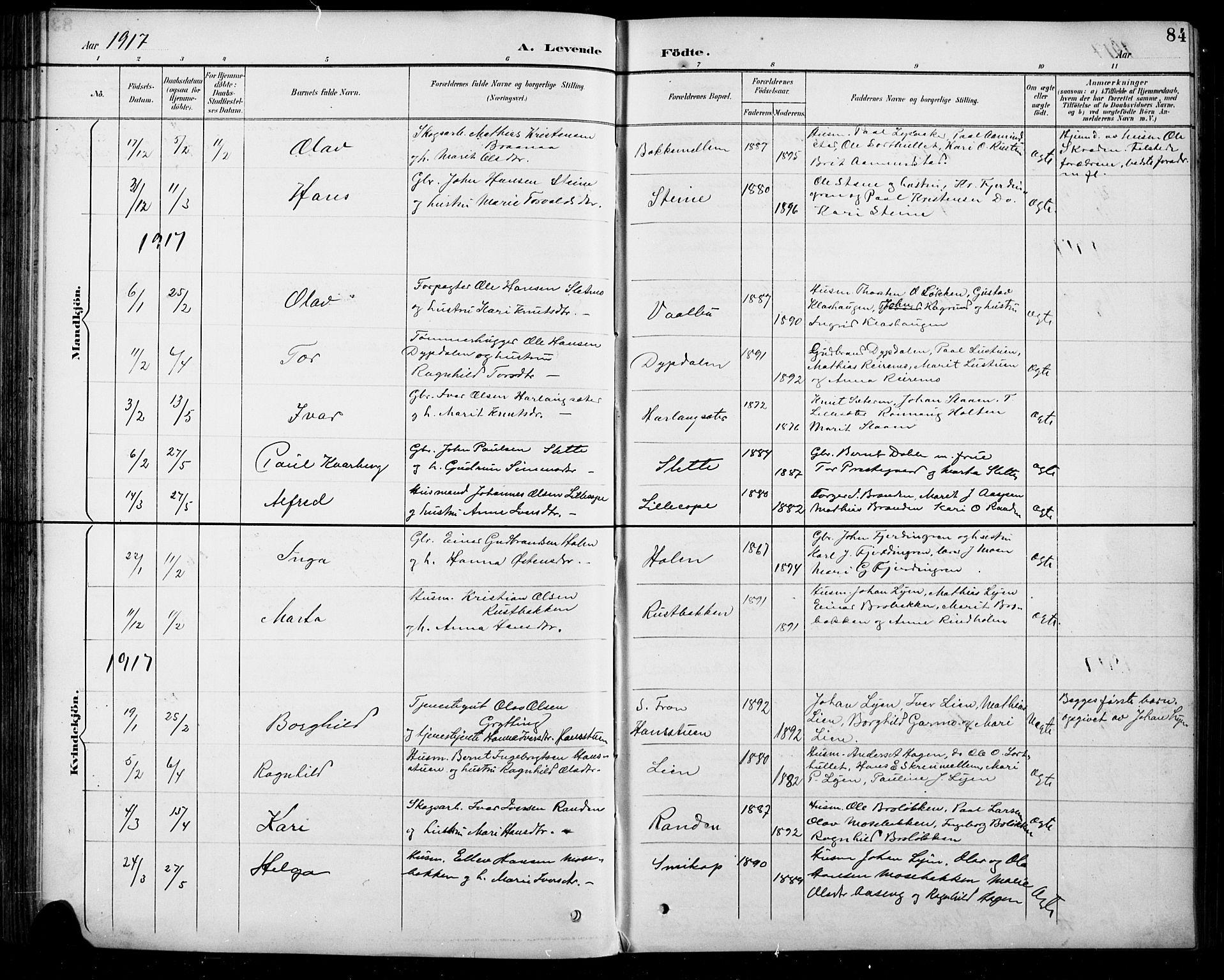 SAH, Sel prestekontor, Parish register (copy) no. 5, 1894-1923, p. 84