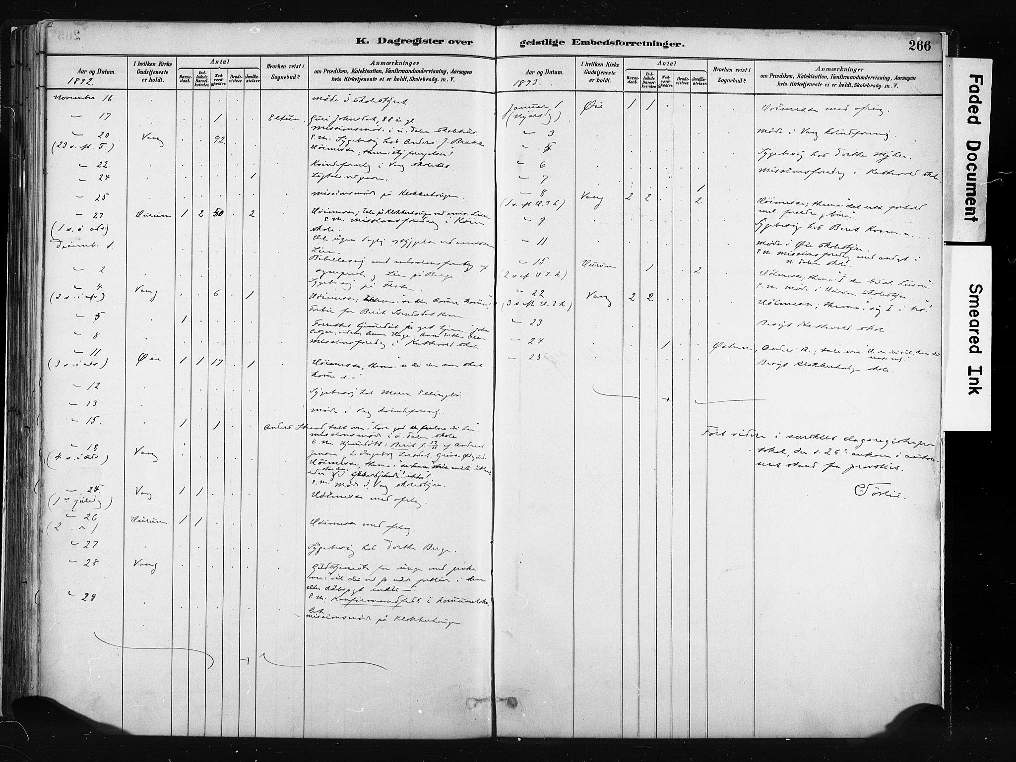 SAH, Vang prestekontor, Valdres, Parish register (official) no. 8, 1882-1910, p. 266