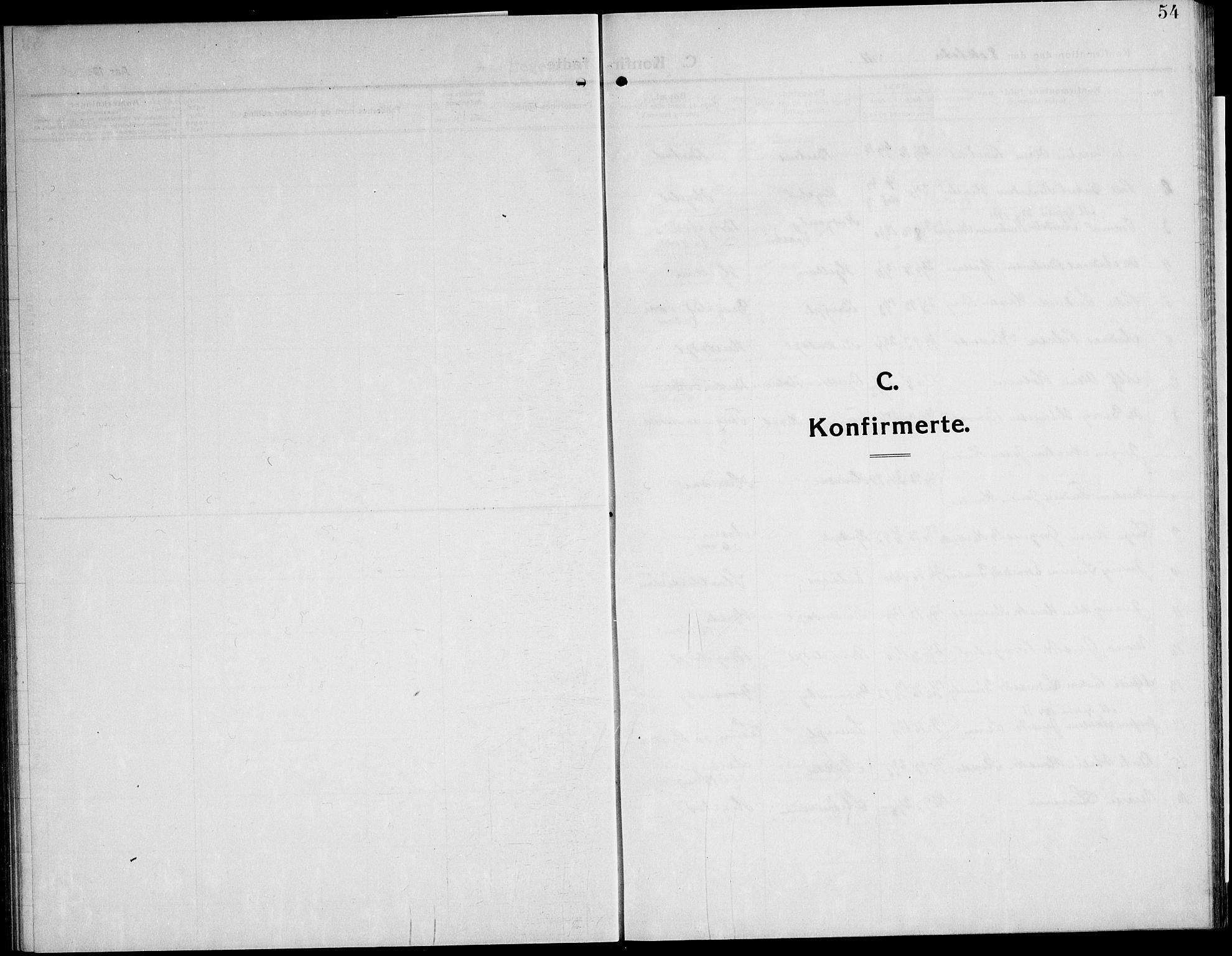 SAT, Ministerialprotokoller, klokkerbøker og fødselsregistre - Nord-Trøndelag, 732/L0319: Parish register (copy) no. 732C03, 1911-1945, p. 54