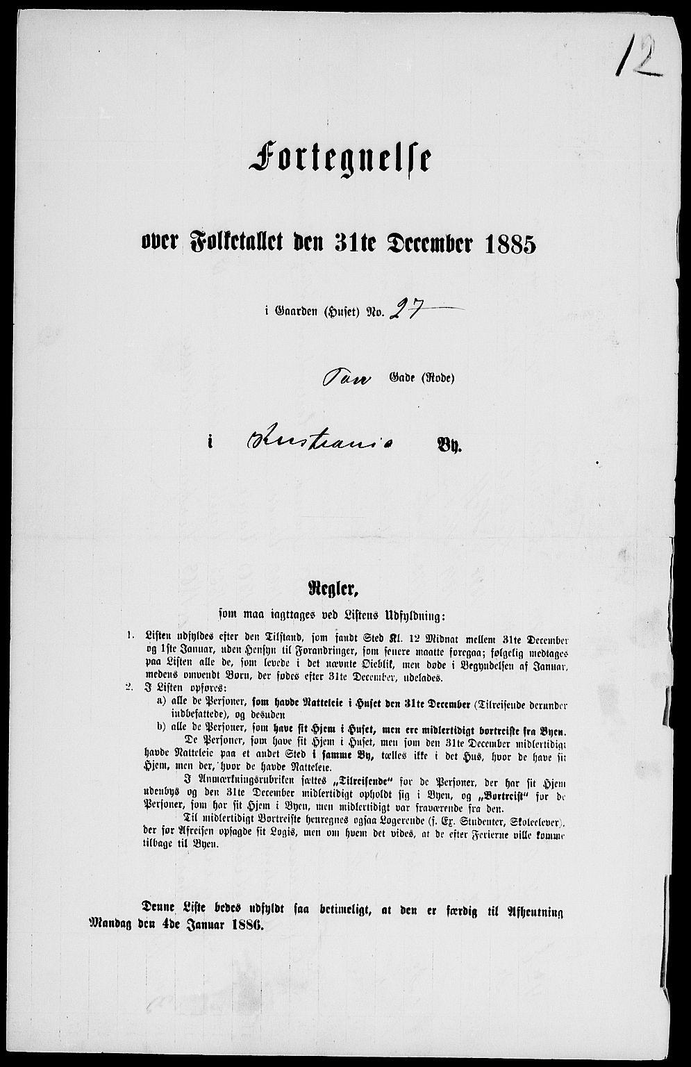 RA, 1885 census for 0301 Kristiania, 1885, p. 5587
