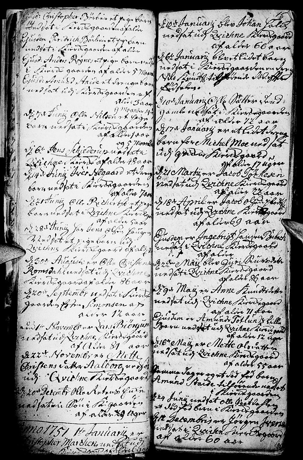 SAH, Kvikne prestekontor, Parish register (official) no. 1, 1740-1756, p. 14-15