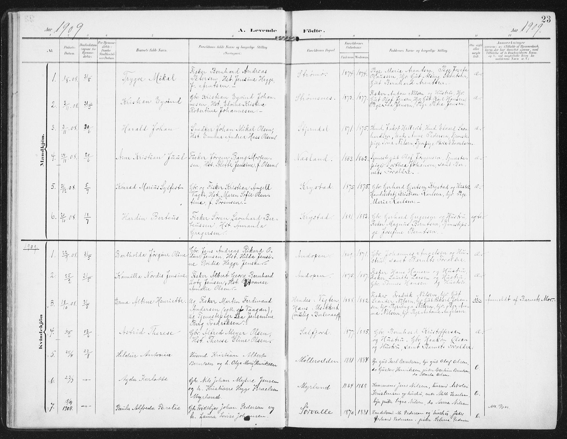 SAT, Ministerialprotokoller, klokkerbøker og fødselsregistre - Nordland, 885/L1206: Parish register (official) no. 885A07, 1905-1915, p. 23