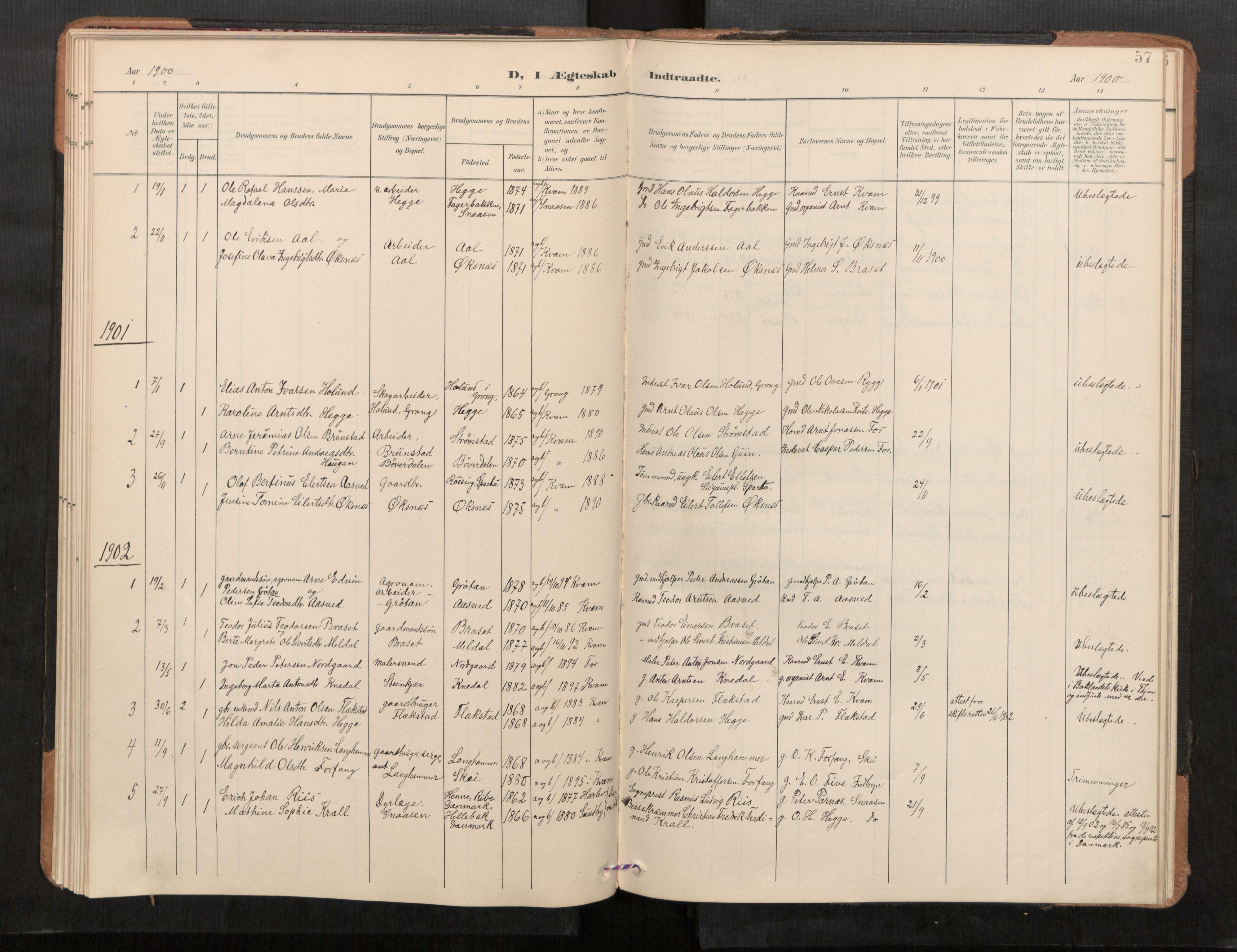 SAT, Stod sokneprestkontor, I/I1/I1a/L0001: Parish register (official) no. 1, 1900-1912, p. 57