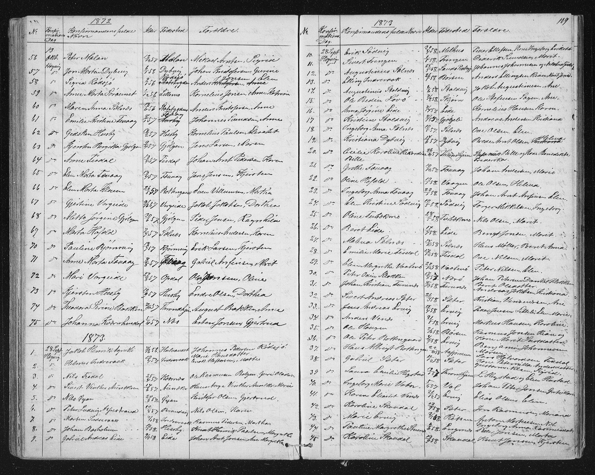 SAT, Ministerialprotokoller, klokkerbøker og fødselsregistre - Sør-Trøndelag, 651/L0647: Parish register (copy) no. 651C01, 1866-1914, p. 109