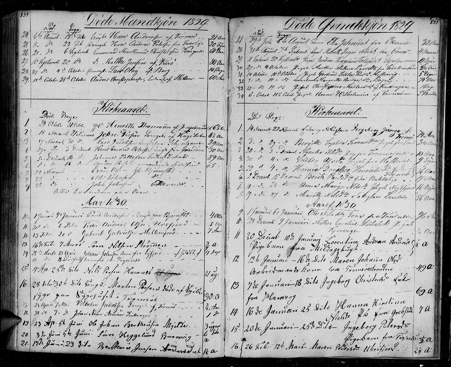 SATØ, Tromsø sokneprestkontor/stiftsprosti/domprosti, G/Ga/L0008kirke: Parish register (official) no. 8, 1829-1837, p. 854-855