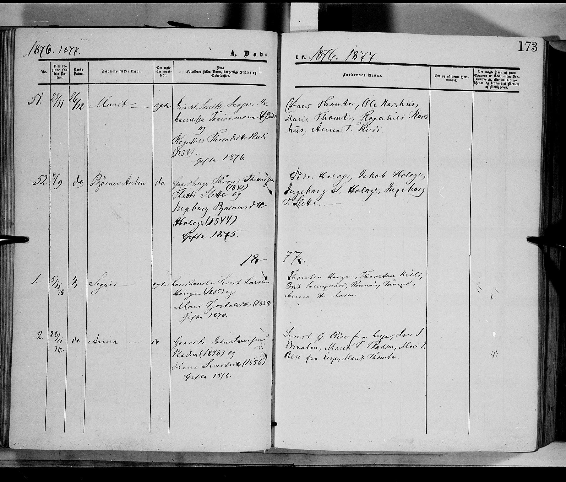 SAH, Dovre prestekontor, Parish register (official) no. 1, 1854-1878, p. 173