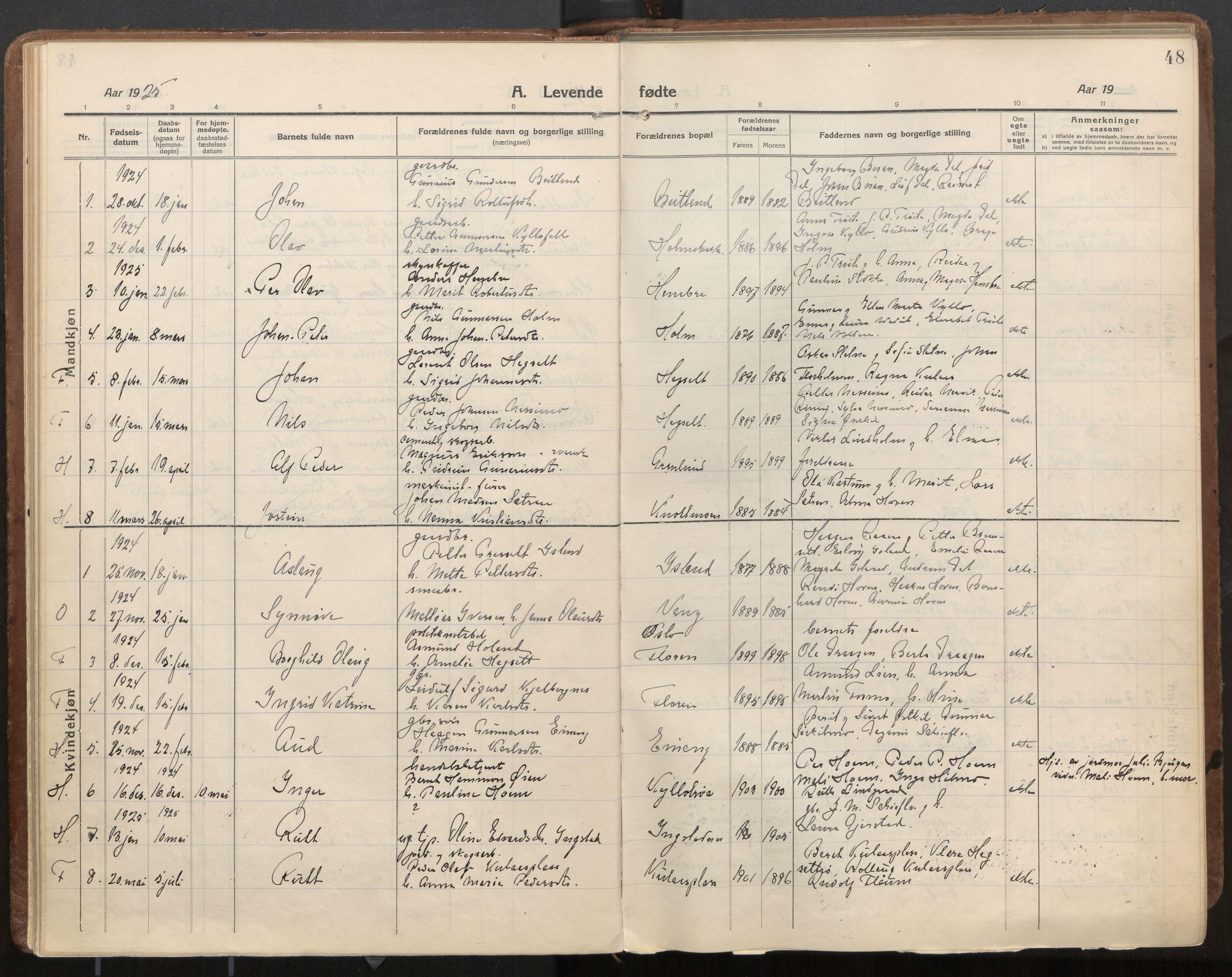SAT, Ministerialprotokoller, klokkerbøker og fødselsregistre - Nord-Trøndelag, 703/L0037: Parish register (official) no. 703A10, 1915-1932, p. 48