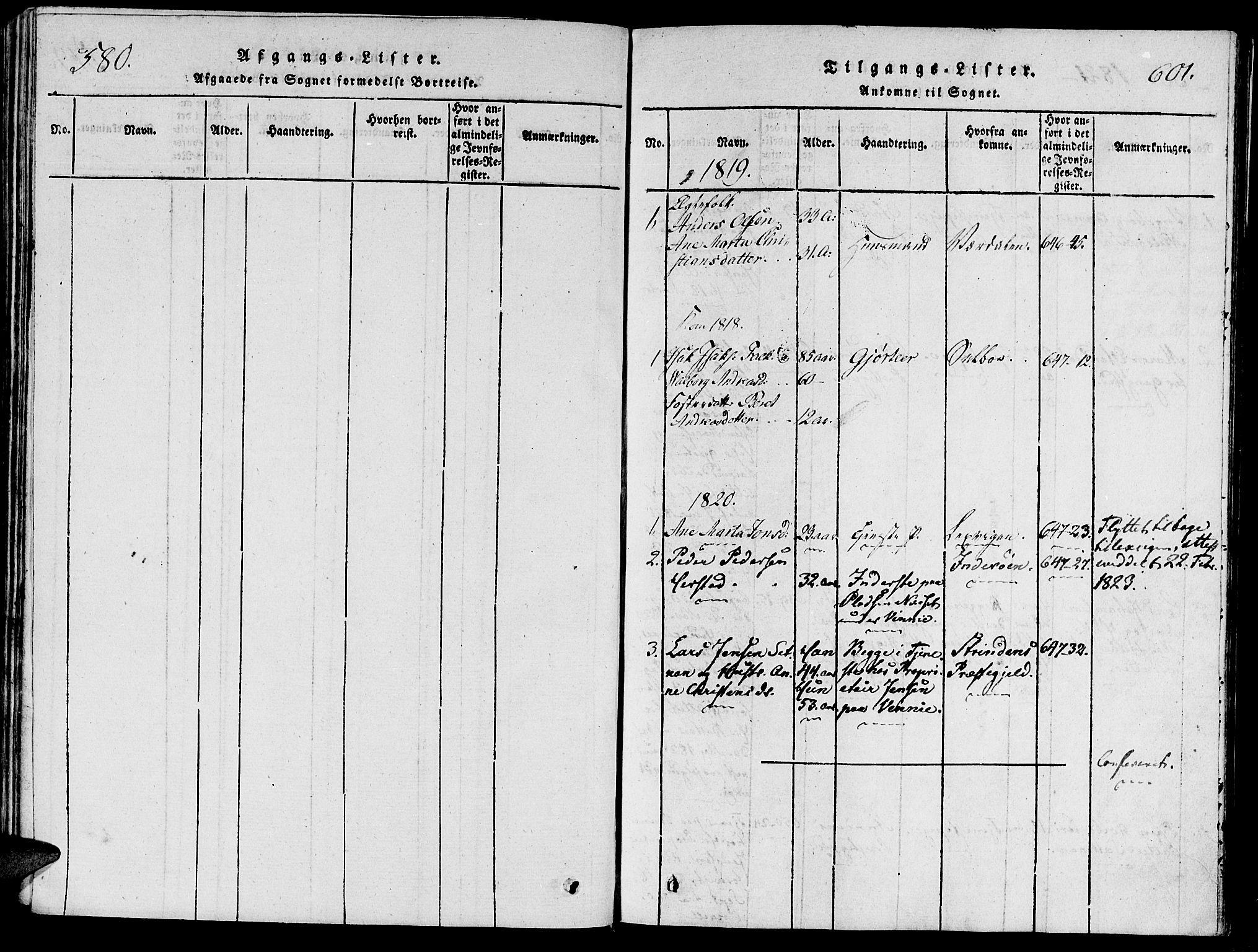 SAT, Ministerialprotokoller, klokkerbøker og fødselsregistre - Nord-Trøndelag, 733/L0322: Parish register (official) no. 733A01, 1817-1842, p. 580-601