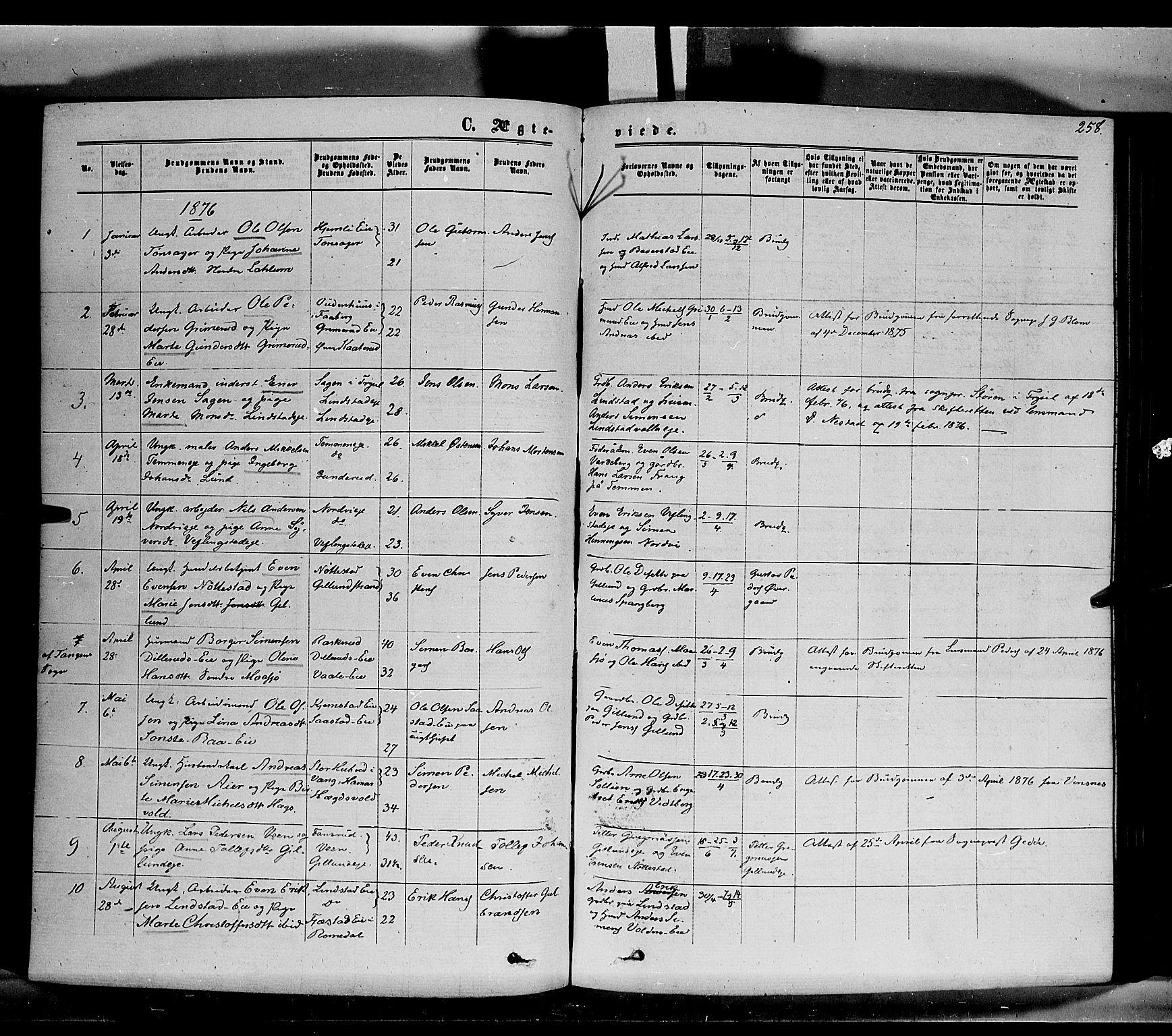 SAH, Stange prestekontor, K/L0013: Parish register (official) no. 13, 1862-1879, p. 258
